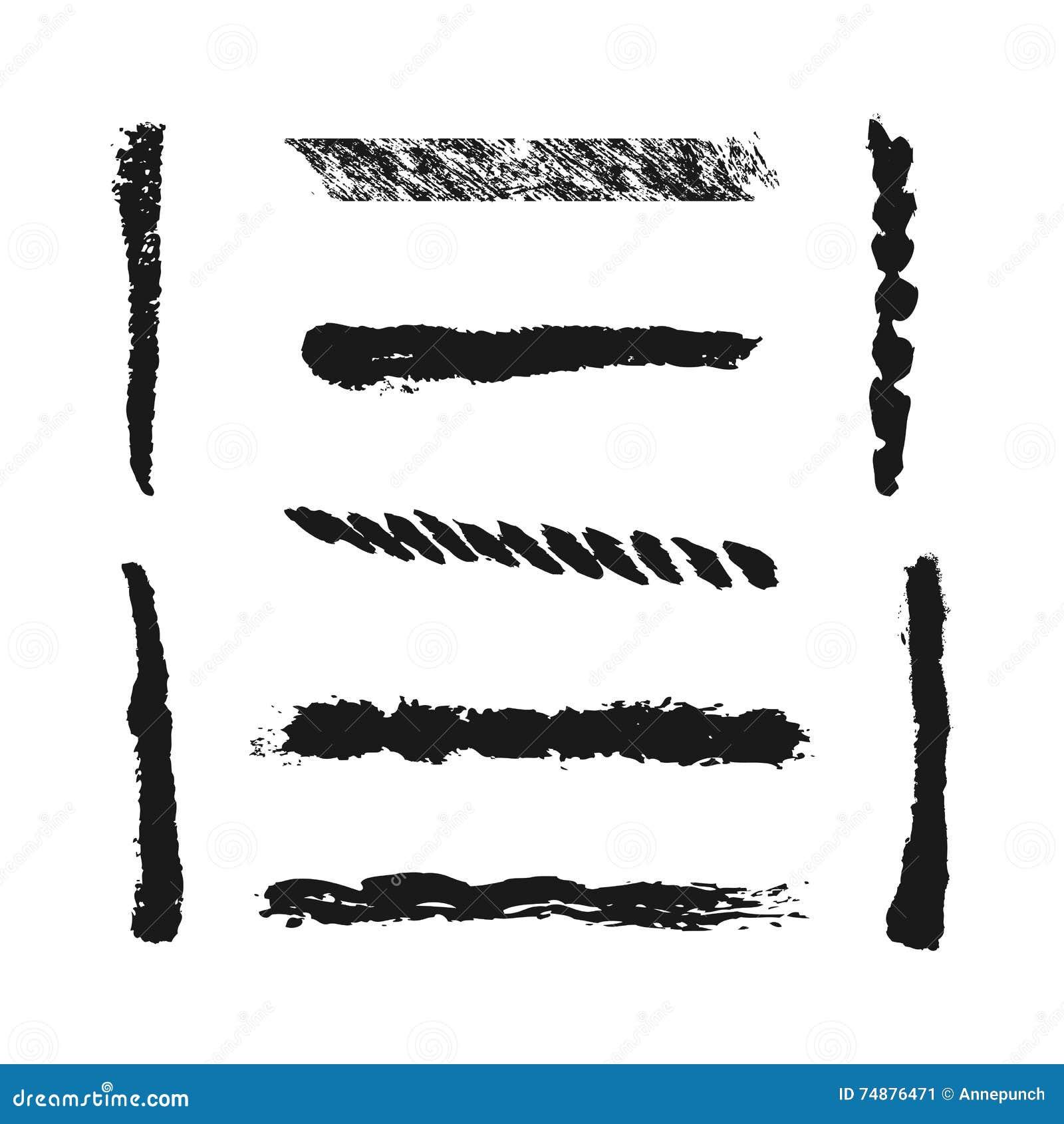 Nove cursos isolados da escova, pintados com uma escova Linha do Grunge