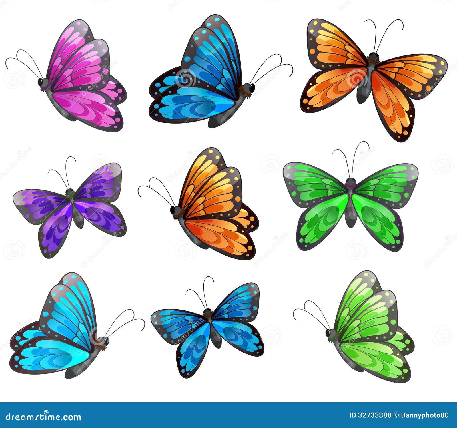 Nove farfalle variopinte
