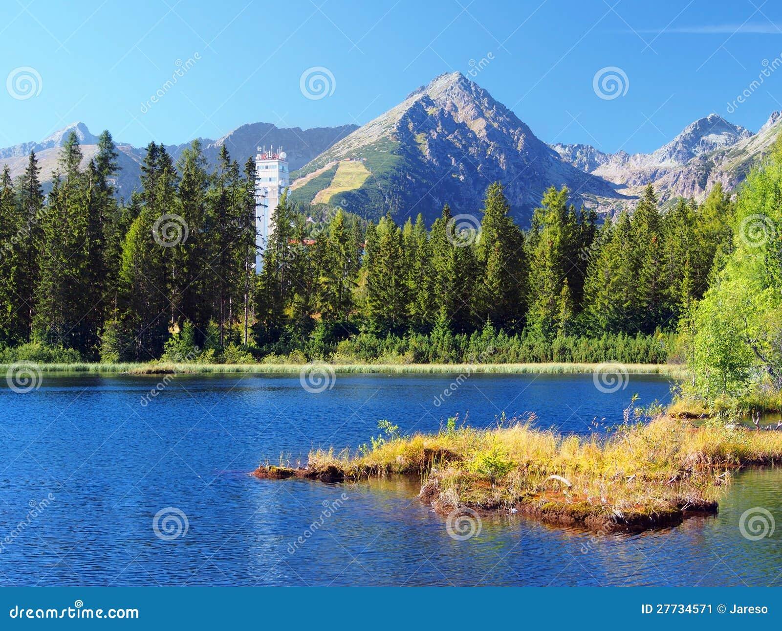 Nove Strbske Pleso und Solisko Spitze in hohem Tatras