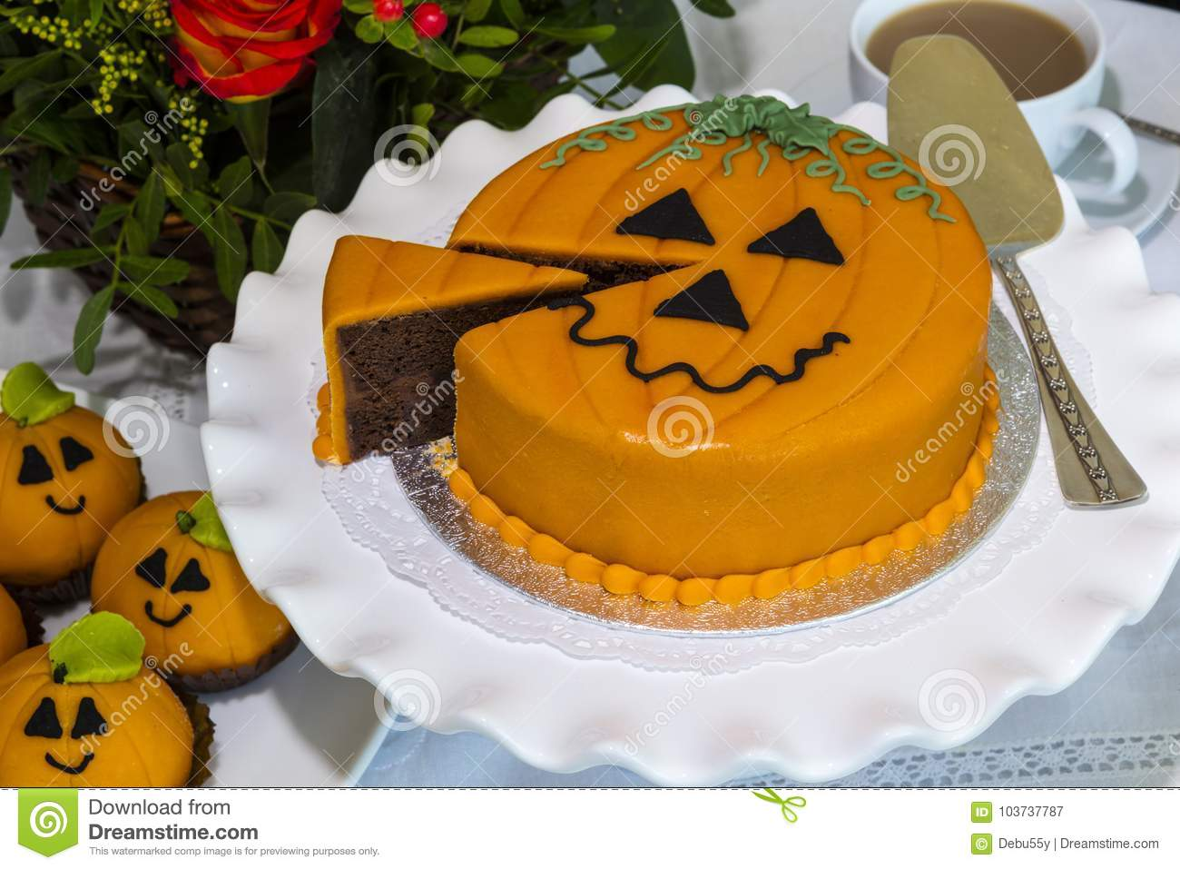Halloween Decorated Cakes Served On Ceramic Plate Stock