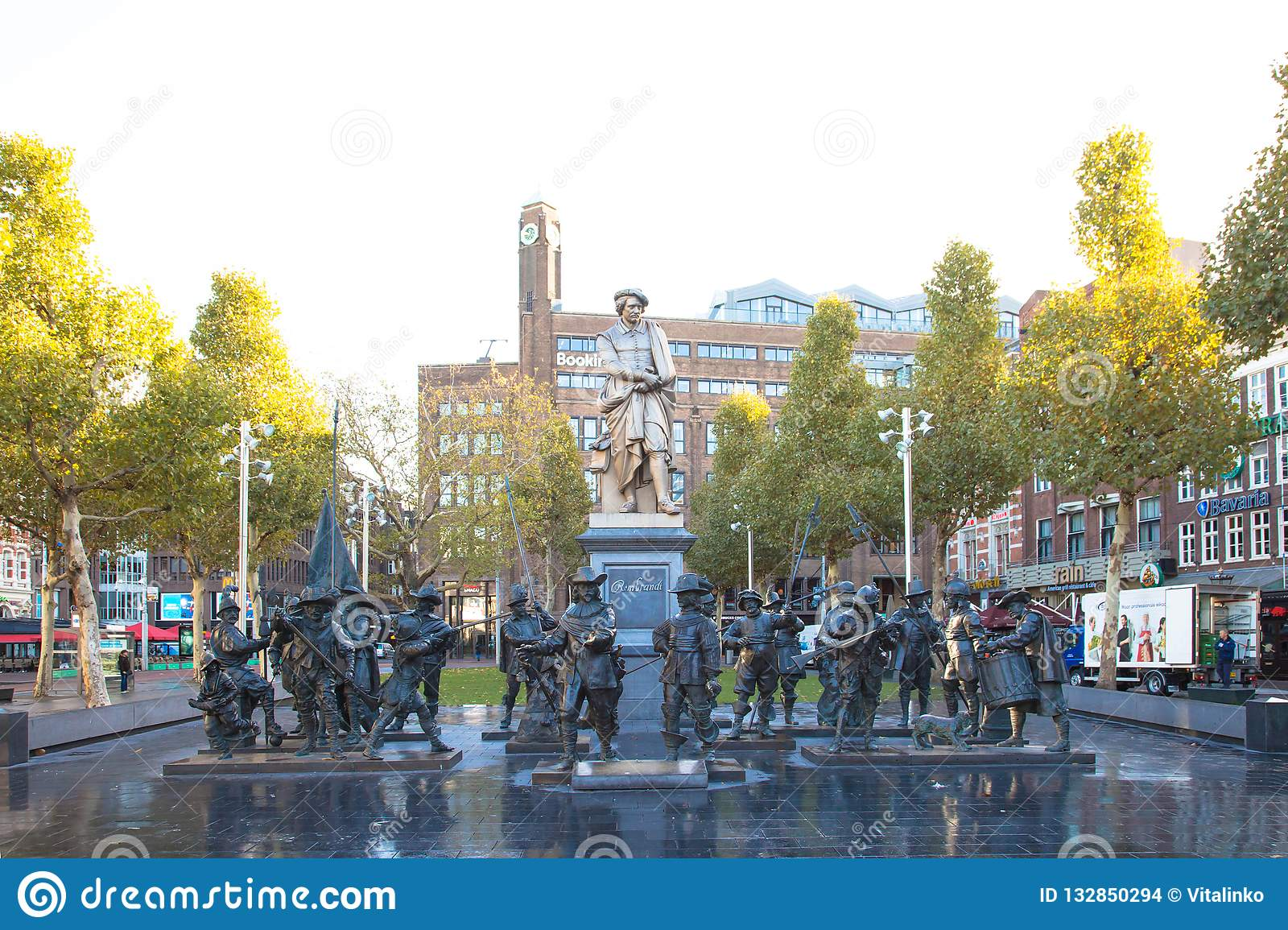 November 8, 2018. Amsterdam, Noord-Holland, the Netherlands. Rembrandt  Square. Monument to Rembrandt and sculptural composition `Night Watch