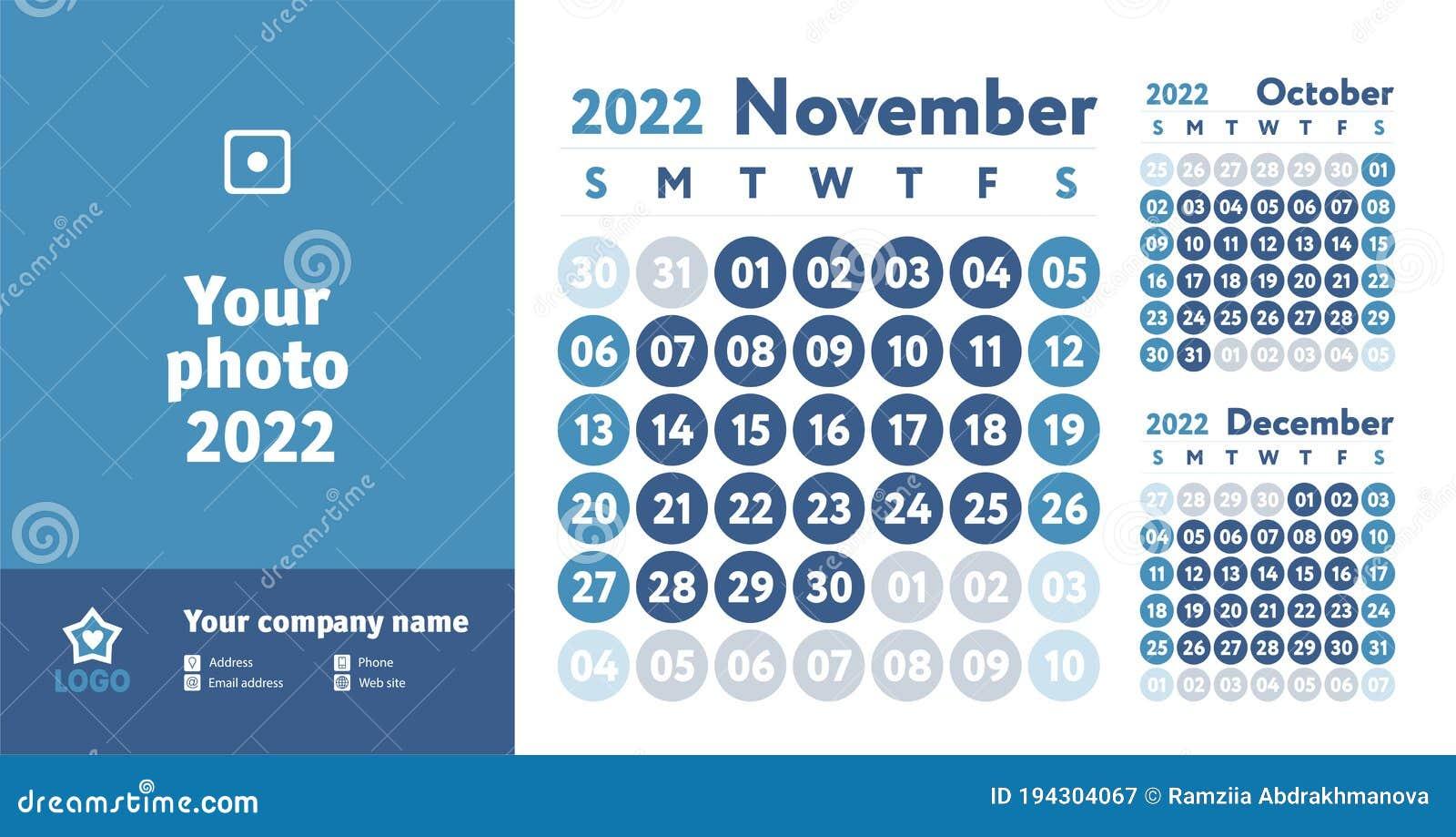 October November 2022 Calendar.November 2022 Calendar Blue Color Planner Design English Calender Vector Template Week Starts On Sunday Business Planning Stock Vector Illustration Of Blue Grid 194304067