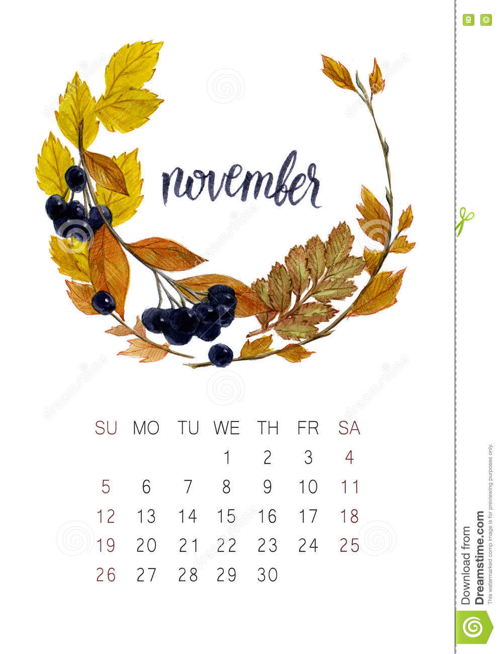 November calendar stock illustration image of poster