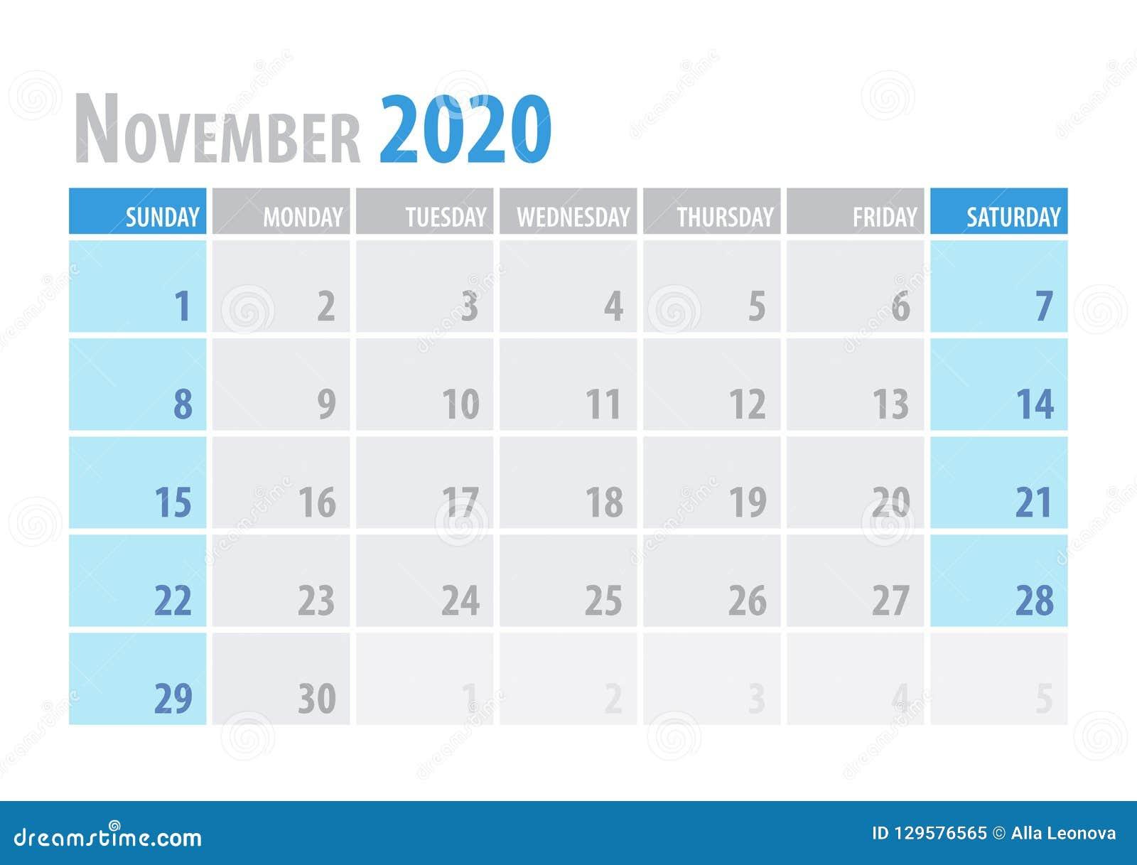Calendario 2020 Planner.November Calendar Planner 2020 In Clean Minimal Table