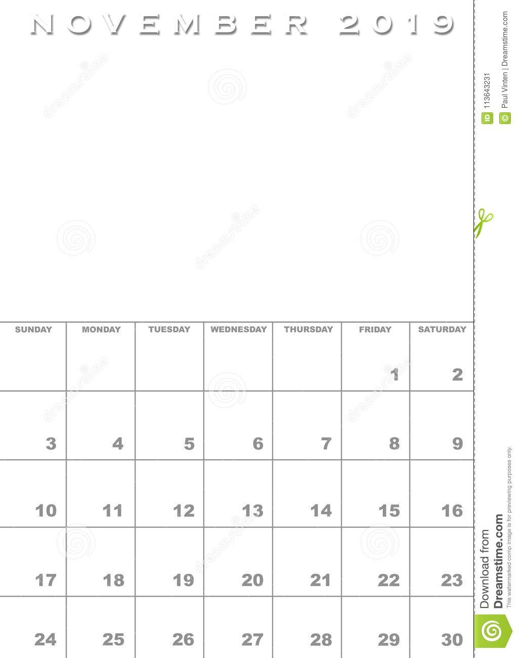 November 2019 Calendar Template Stock Illustration Illustration Of