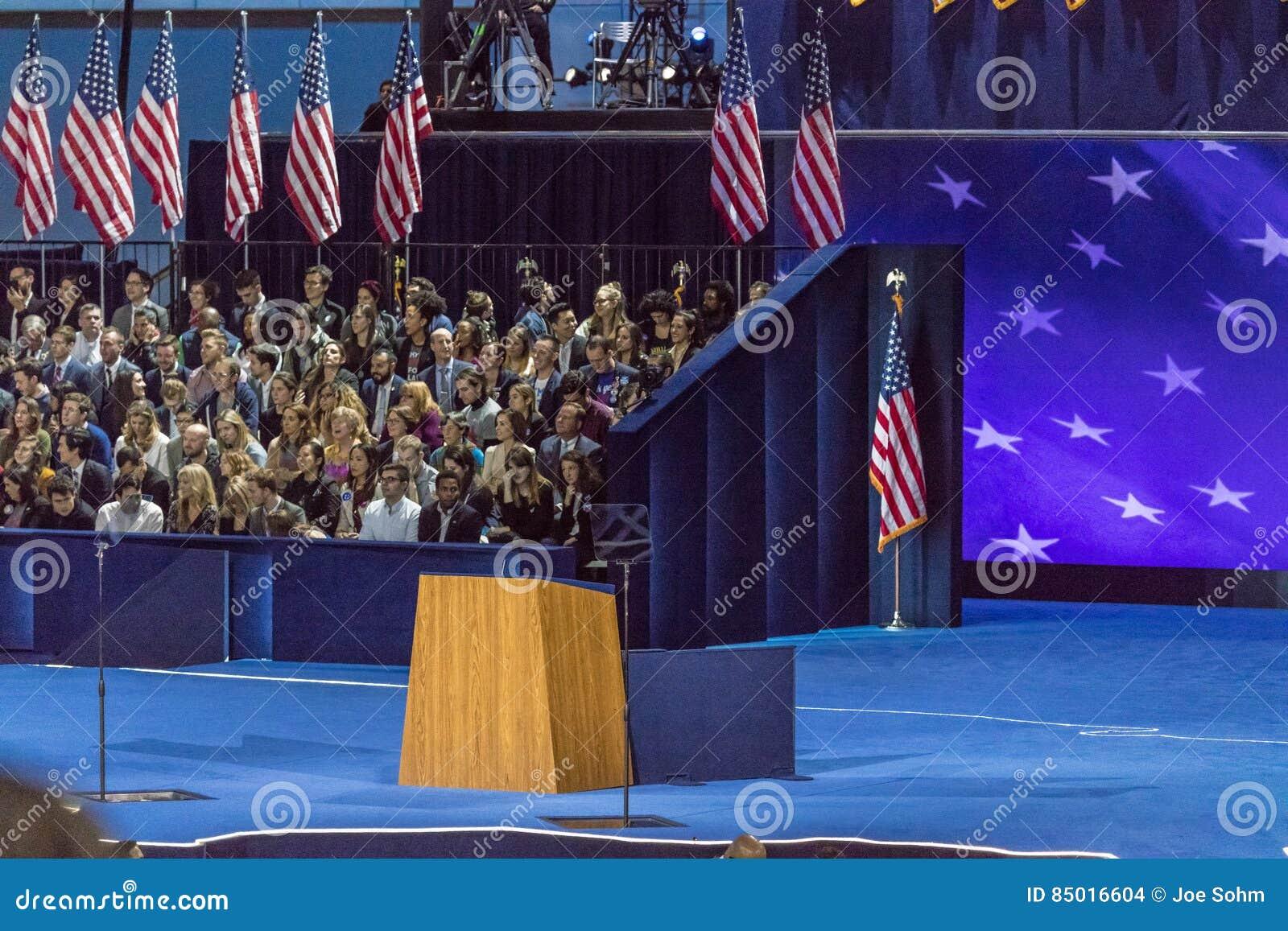 NOVEMBER 8, 2016, Empty Podium Election Night At Jacob K. Javits ...