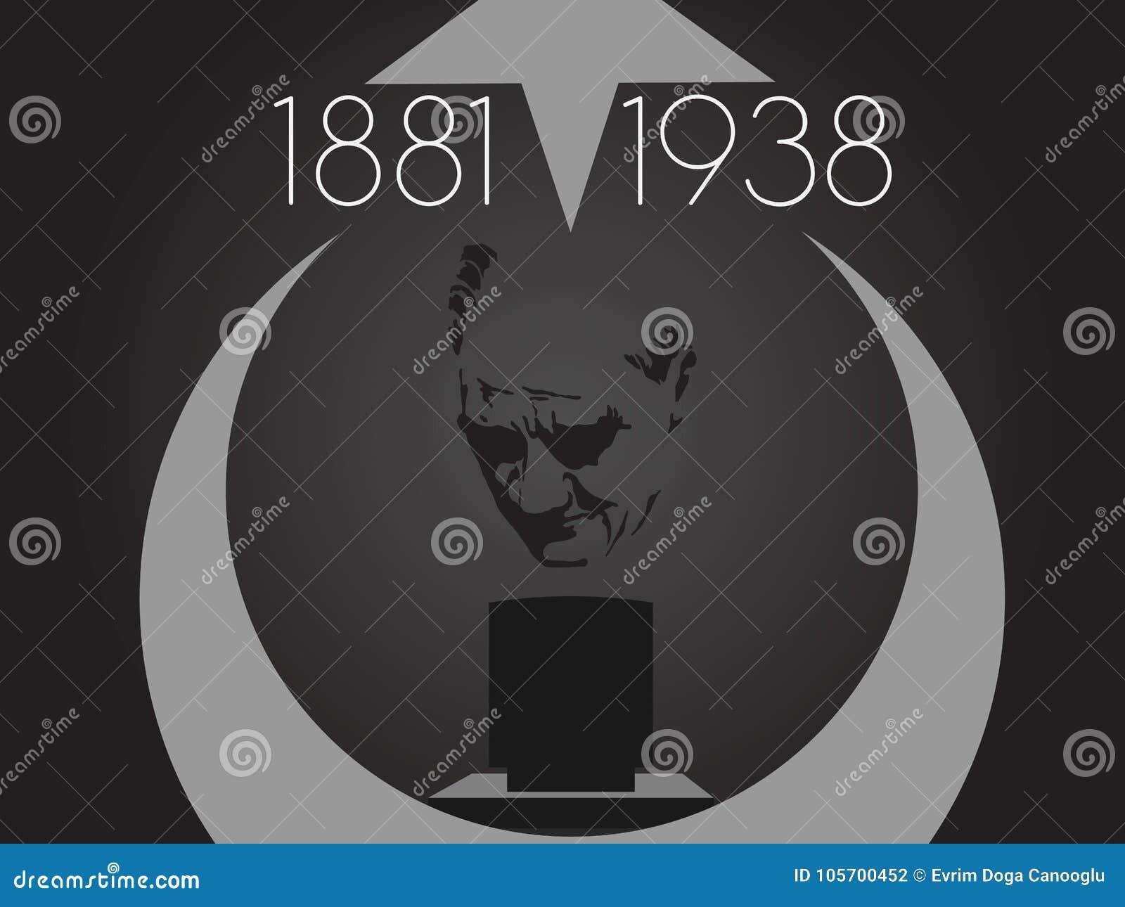 November 10, grundaren av Republiken Turkiet M K Årsdag för död för Ataturk ` s Engelska: November 10, 1881-1938 Turk Fl