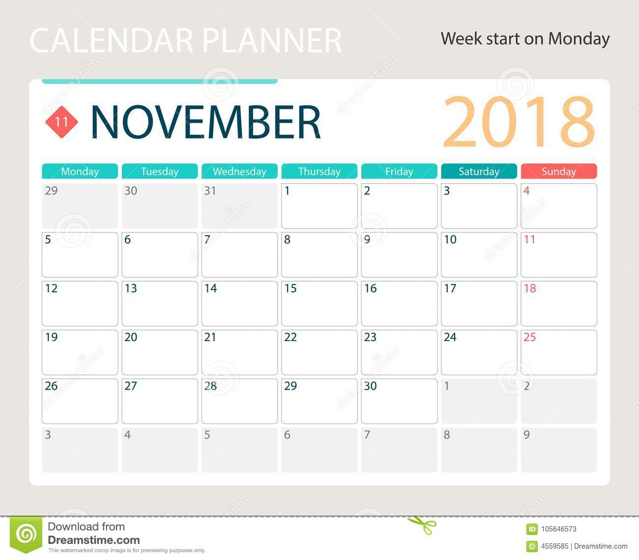 november 2018 illustration vector calendar or desk planner weeks start on monday