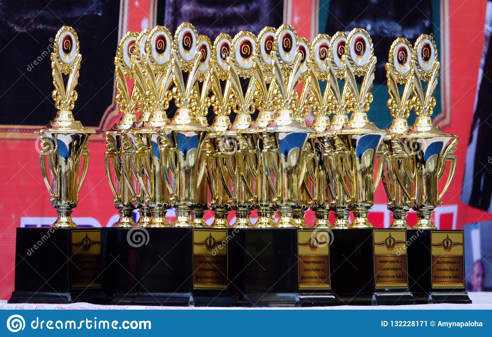 18-november-2018.LATKABANG THAILAND. Golden trophy. Prepare for the talented person and win the job