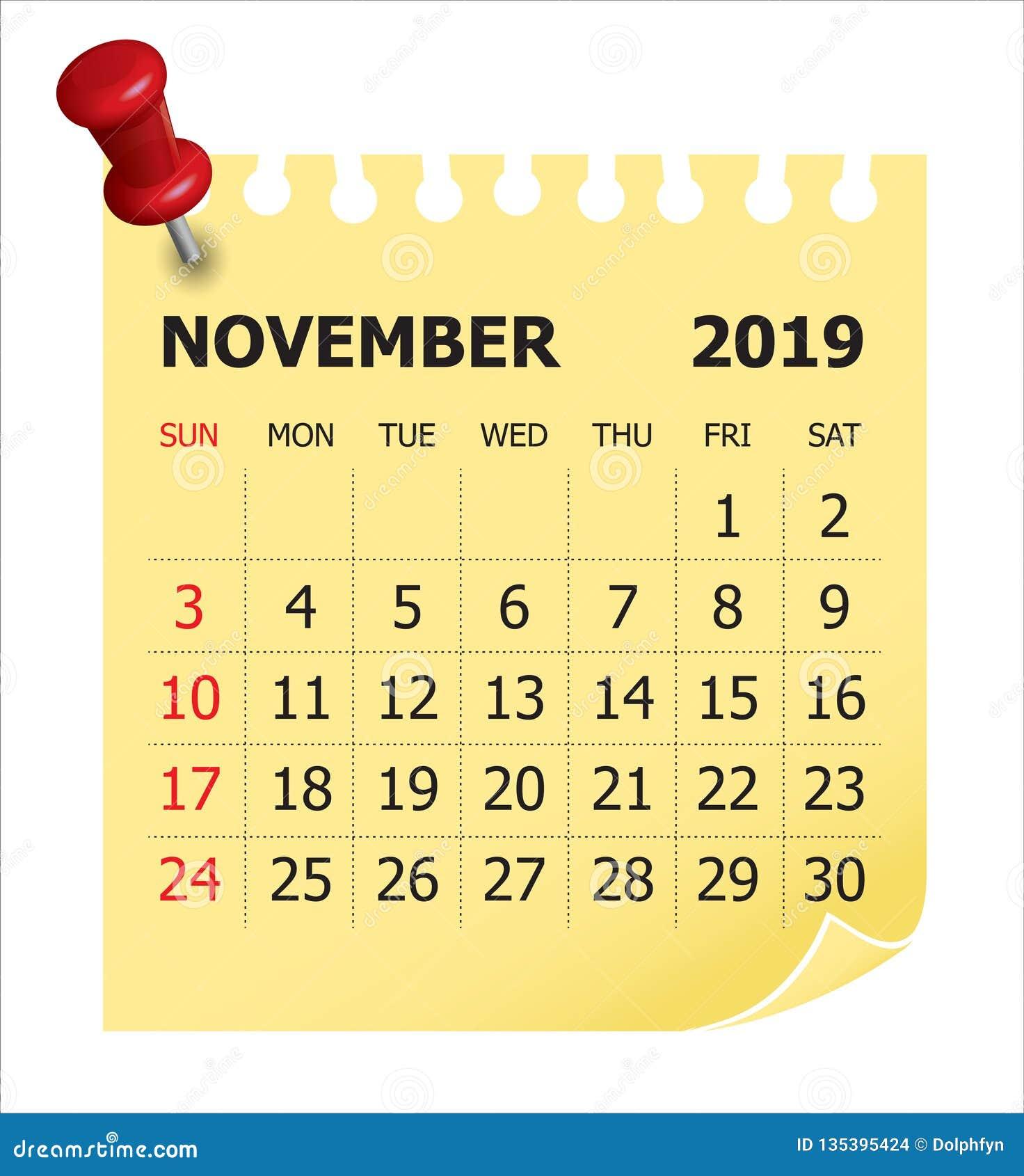 November 2019 Monthly Calendar Vector Illustration Stock
