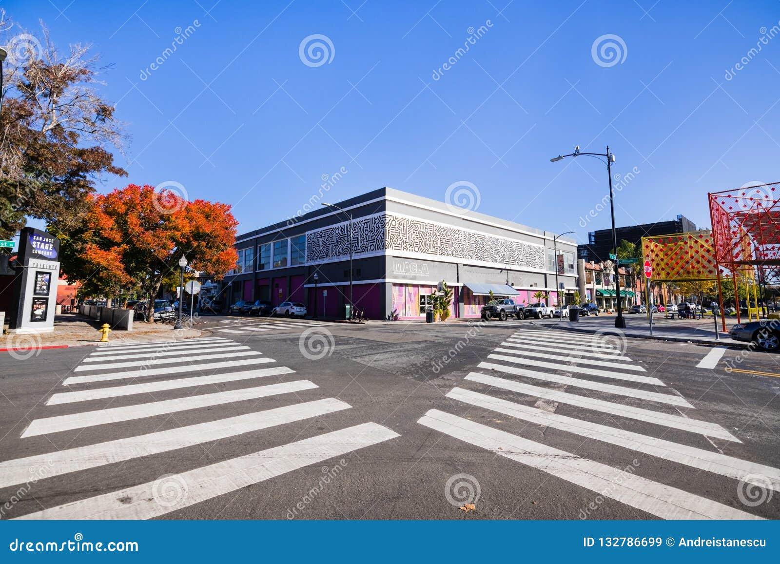 25 november, 2018 San Jose/CA/de V.S. - Stedelijk landschap in BANK
