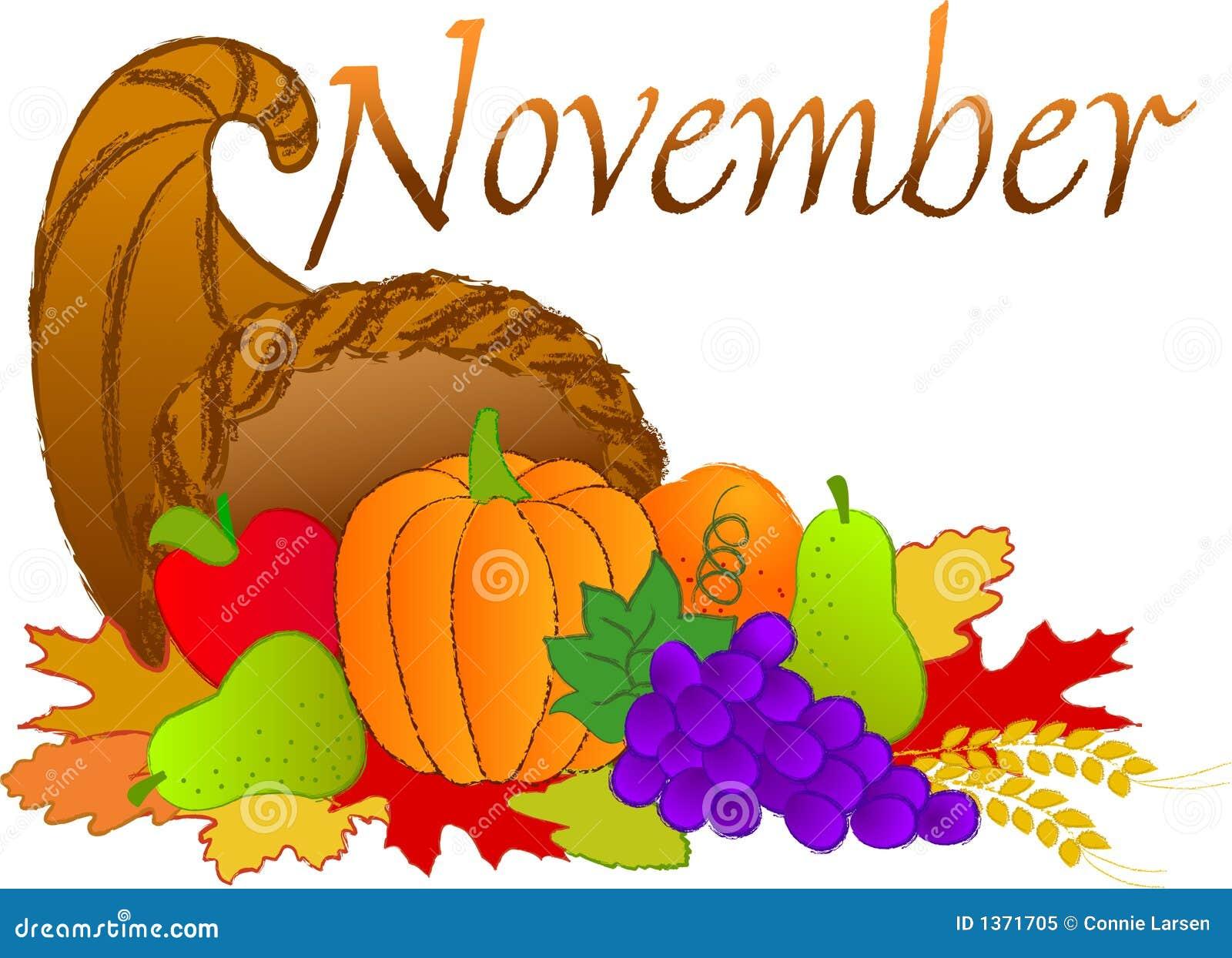 Thanksgiving Calendar Art : November scene stock illustration of drawing