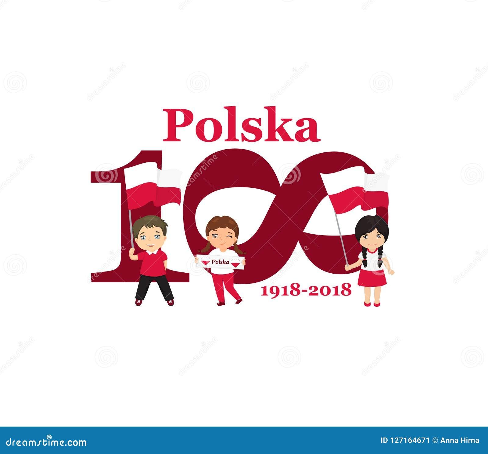 11. November Unabhängigkeitstag-Grußkarte Polens glückliche Jahrestag 100 Text auf Polnisch: Polen 1918-2018