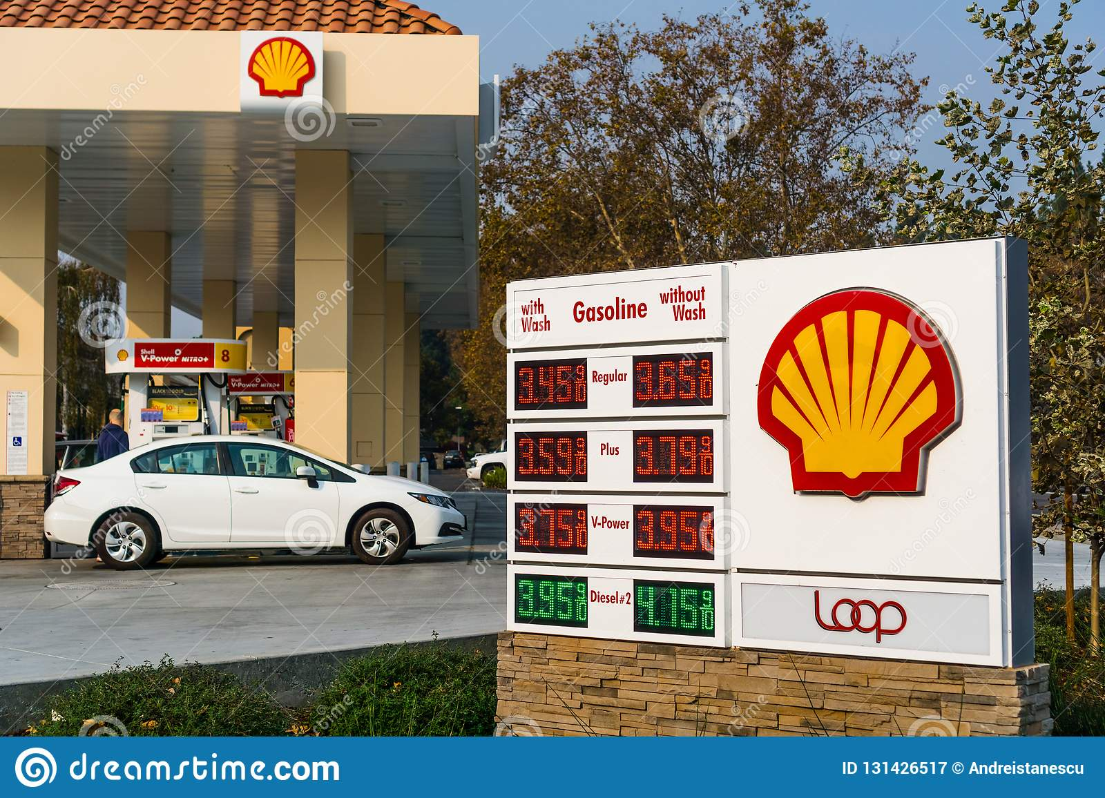 Shell gas station located in San Francisco bay area
