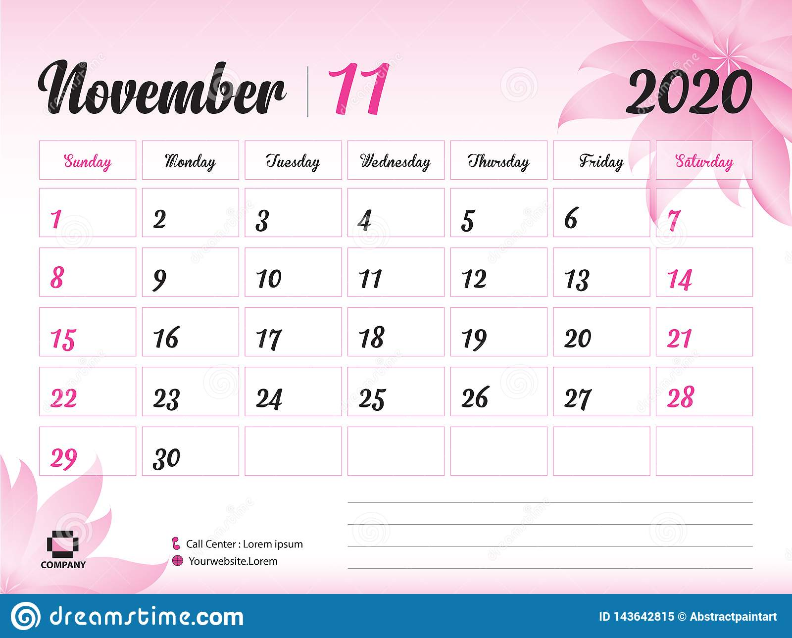 Blank Calendar November 2020.November 2020 Year Template Calendar 2020 Vector Desk Calendar