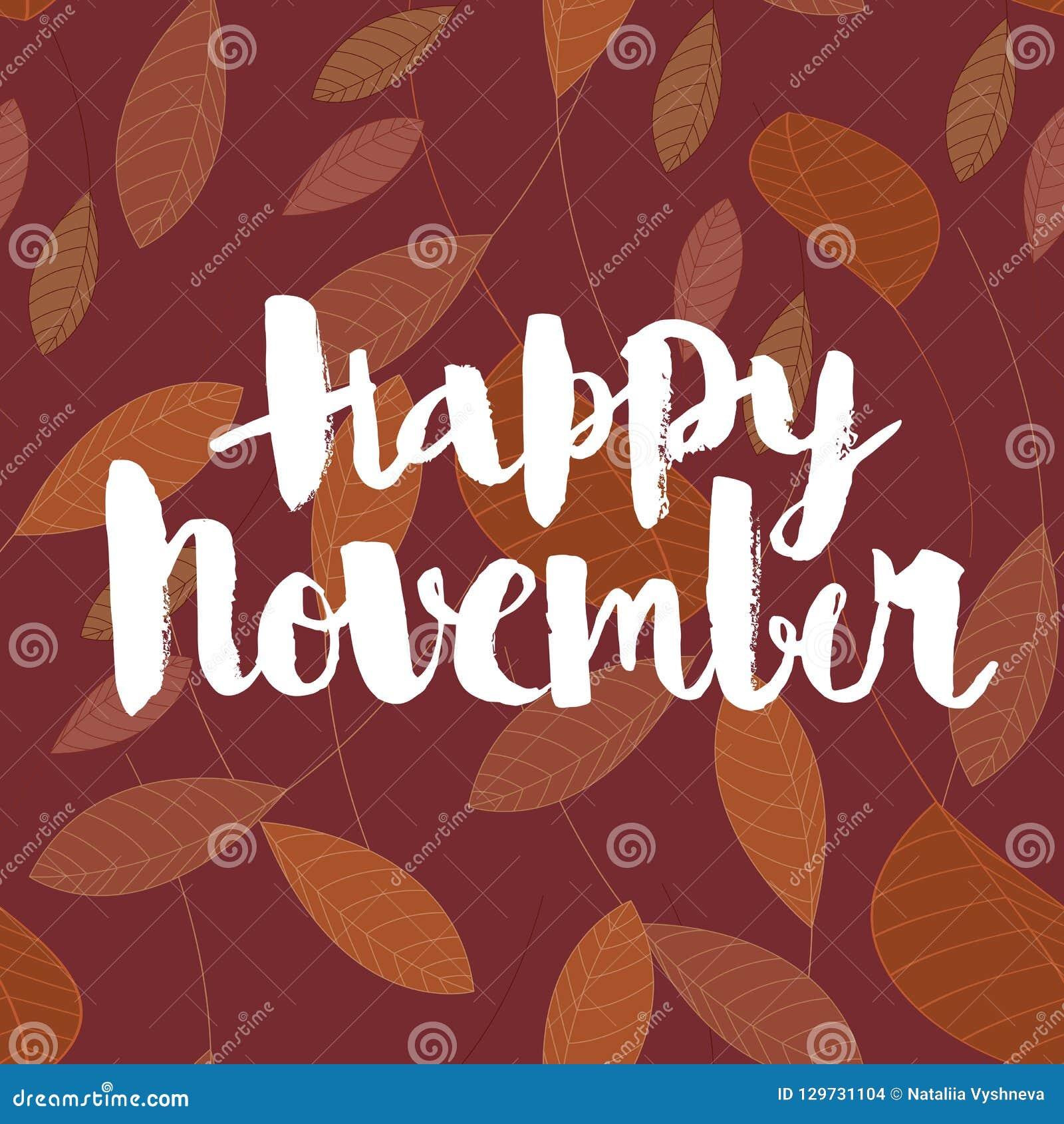 Novembro feliz, inscrição caligráfica do vetor
