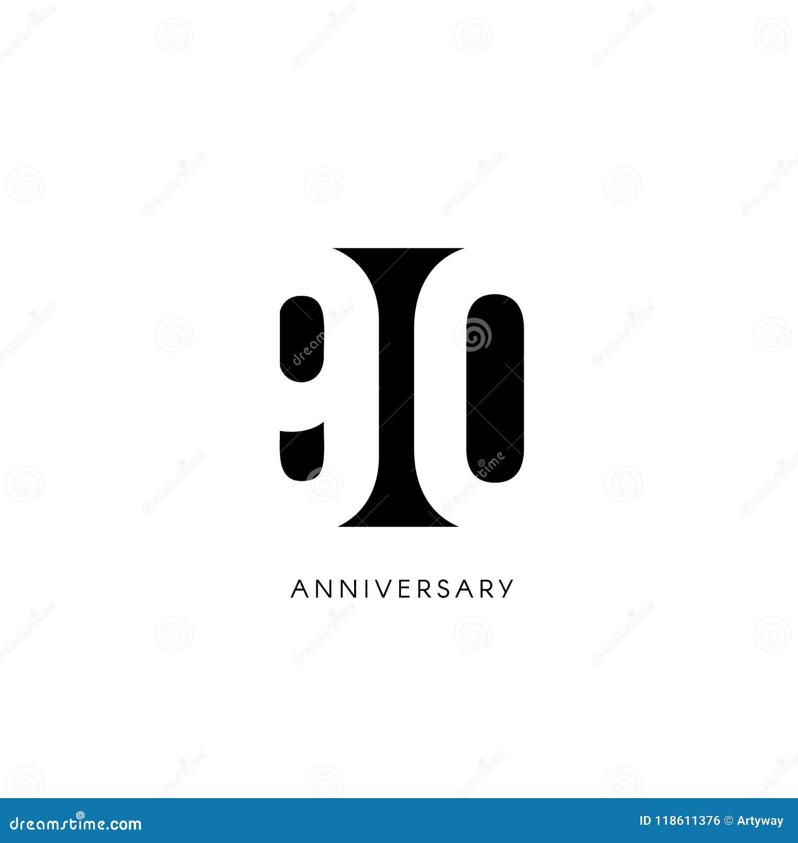 Noventa Aniversarios Logotipo Minimalistic Años Nonagésimos