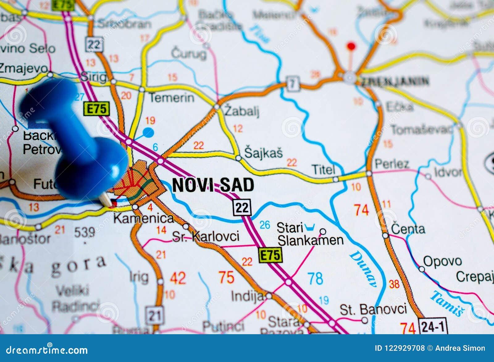Novi Sad En Mapa Foto De Archivo Imagen De Paginaciones 122929708