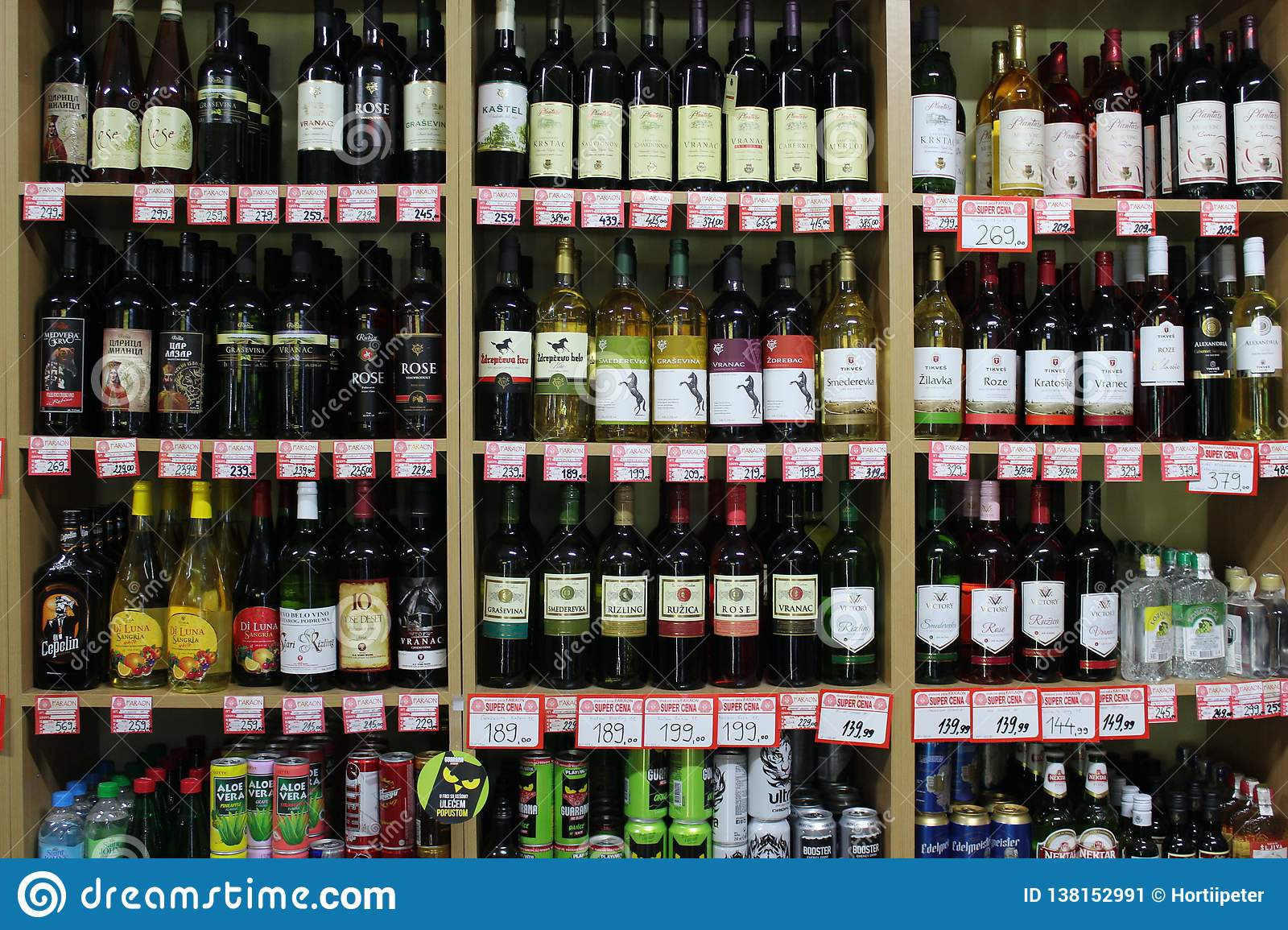Novi Sad Serbia 06.02.2018 Shelves With A Variety Bottles Of Wine For Sale Editorial Photo