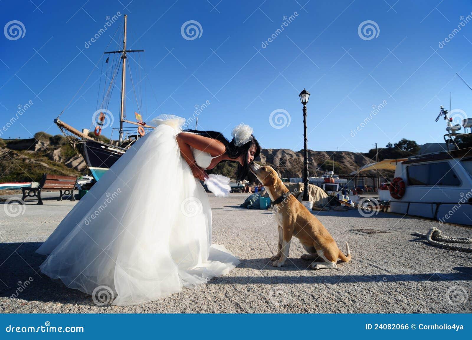Novia que besa un perro en un puerto de Santorini