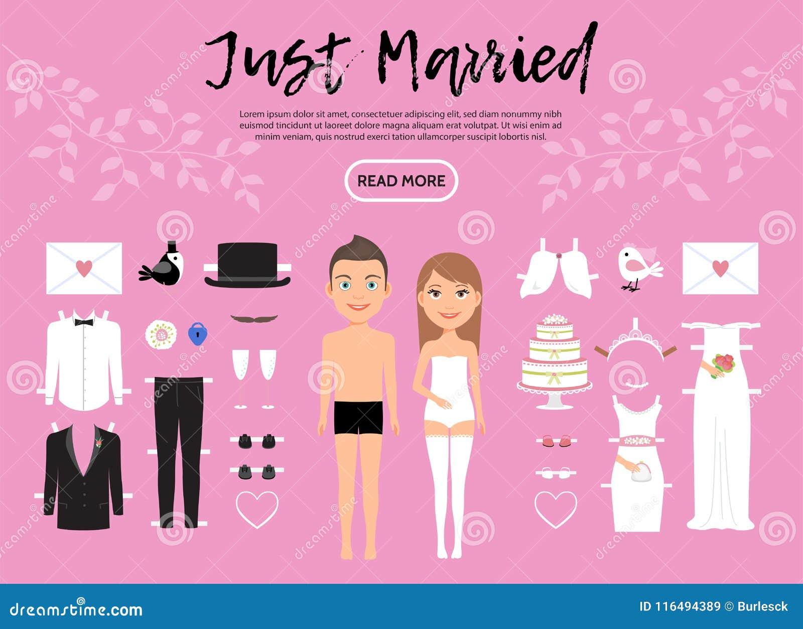 fe56f8d0c8 La plantilla del constructor de los caracteres de novia y del novio con la  letra de los zapatos de la ropa de la boda apelmaza la cerradura nupcial  del velo ...