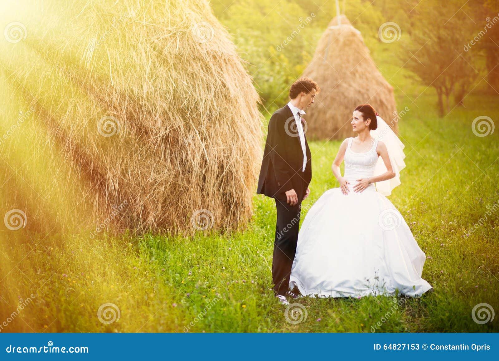 Novia y novio en el campo del heno