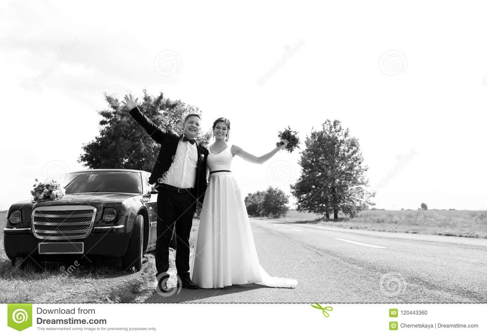 Novia y novio felices cerca del coche al aire libre