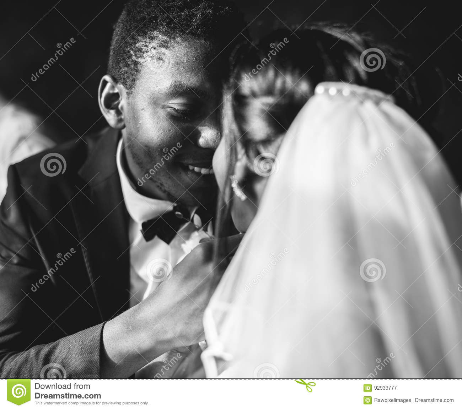Novio Wedding Celebration de la novia de la ascendencia africana del recién casado