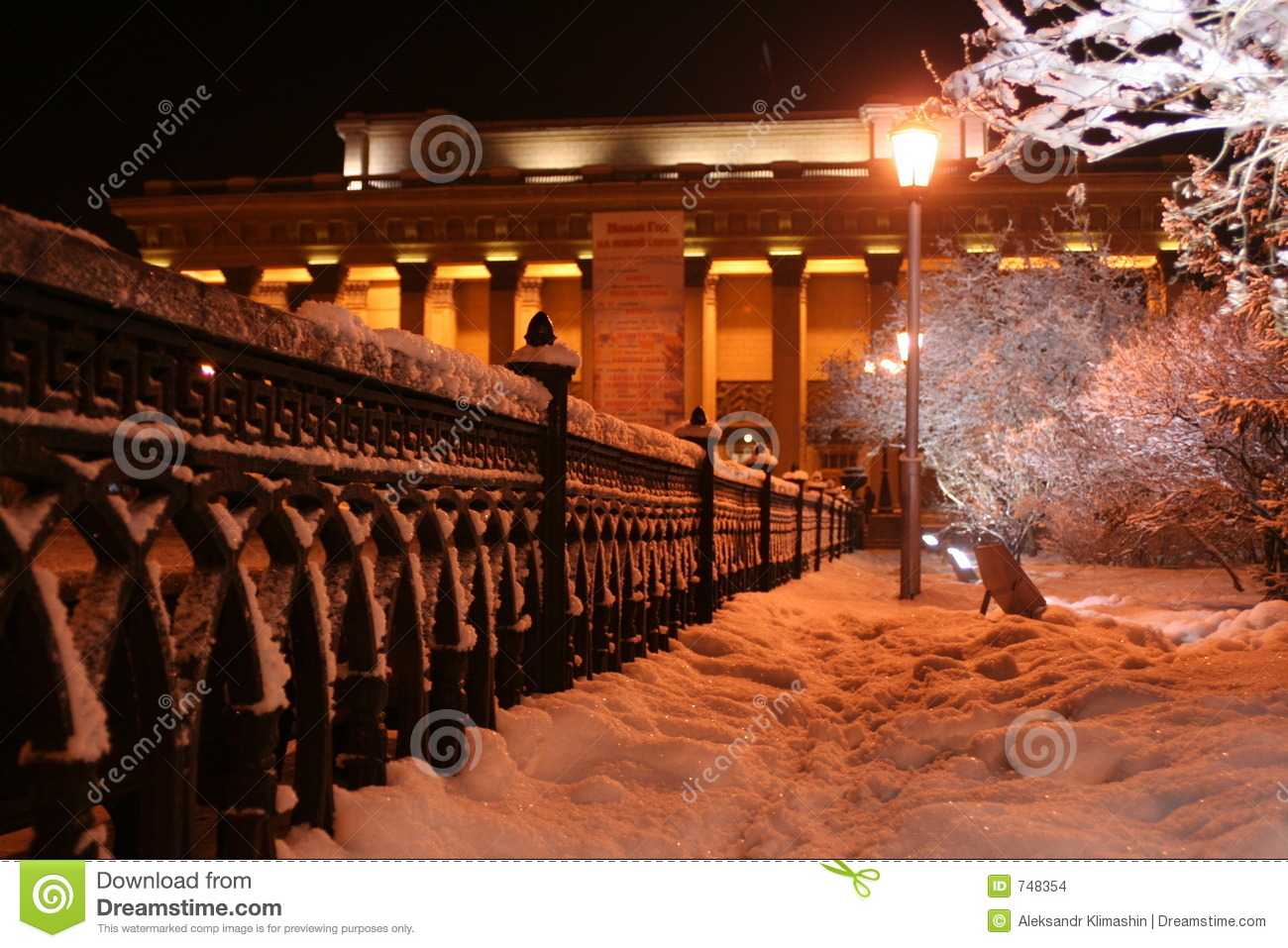 Novosibirsk opera theatre in the winter