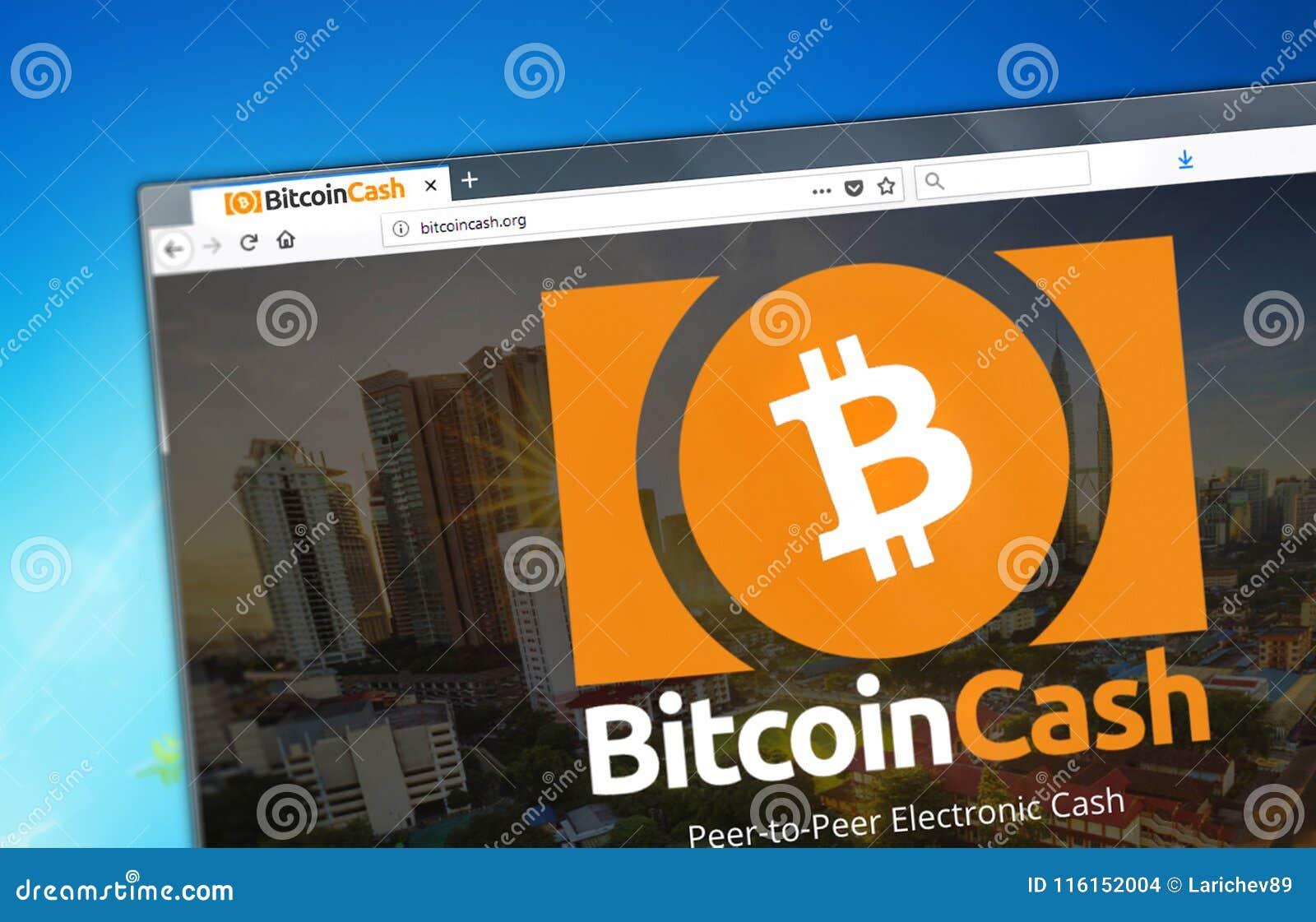 Novosibirsk, Rusland - Mei 8, 2018 - Homepage van Bitcoin-Contant geldcryptocurrency BCH - bitcoincash org op een vertoning van P