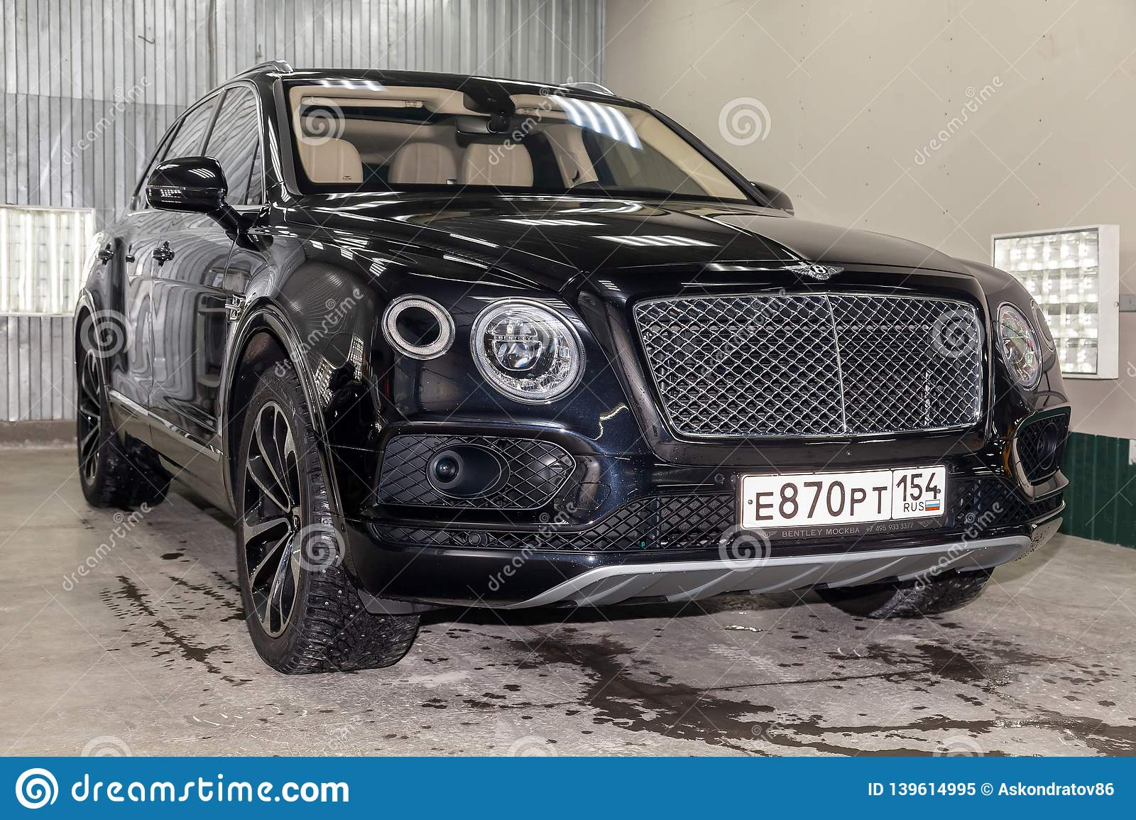 Front View Of Luxury Very Expensive New Black Bentley Bentayga Car Stands In The Washing Box Waiting For Repair In Auto Service Editorial Image Image Of Five Automotive 139614995
