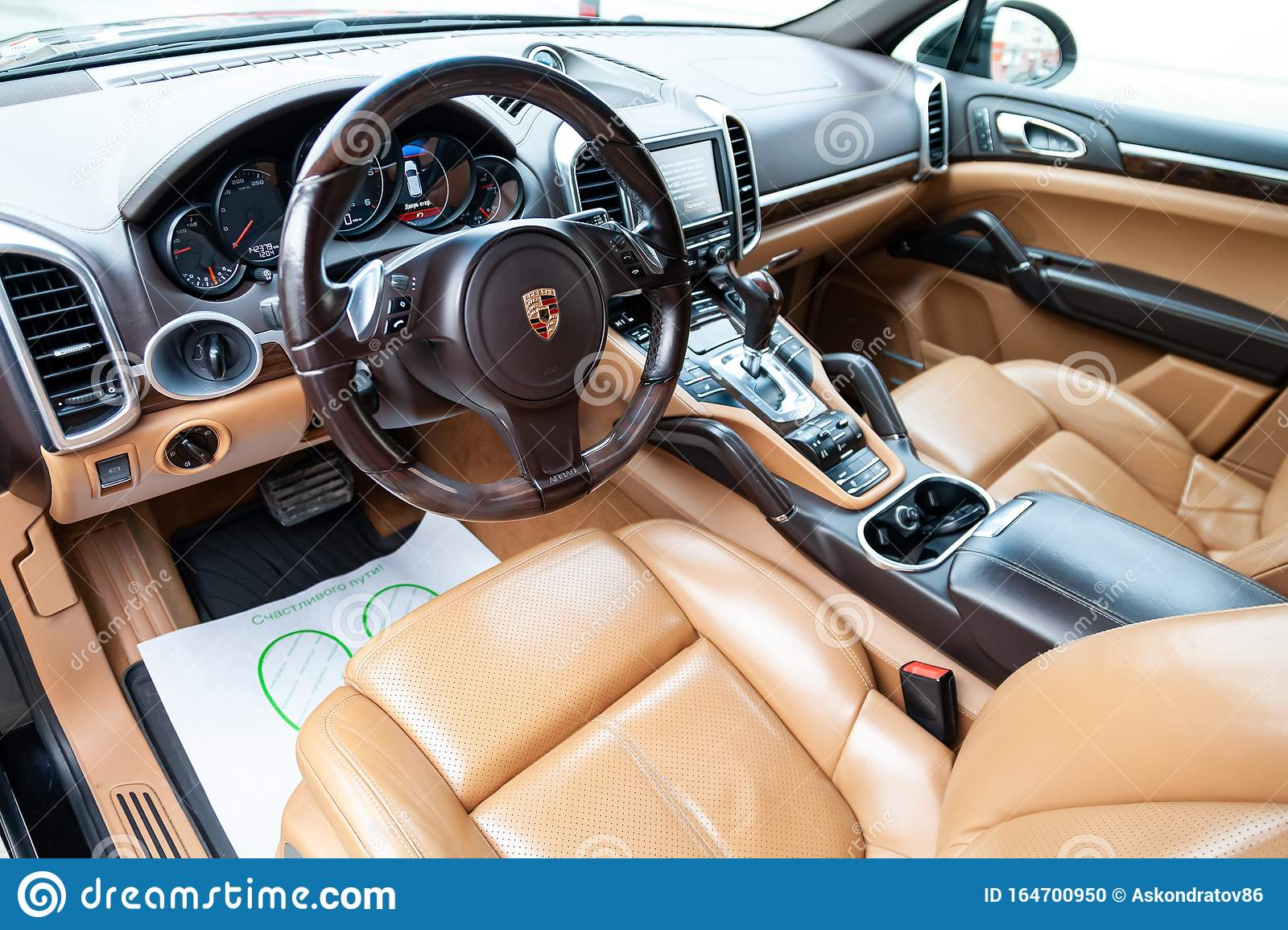 The Interior Of The Car Porsche Cayenne Diesel 958 2012 Year With A View Of The Steering Wheel Dashboard Seats And Multimedia Editorial Image Image Of Business Concept 164700950