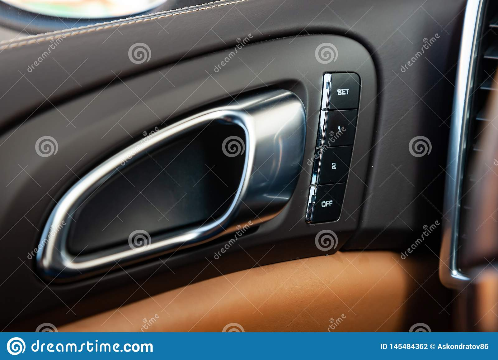 The Interior Of The Car Porsche Cayenne 958 2011 Year With A View Of The Door Handle Dashboard Memory Control Seats Button With Editorial Photography Image Of Engine Driving 145484362