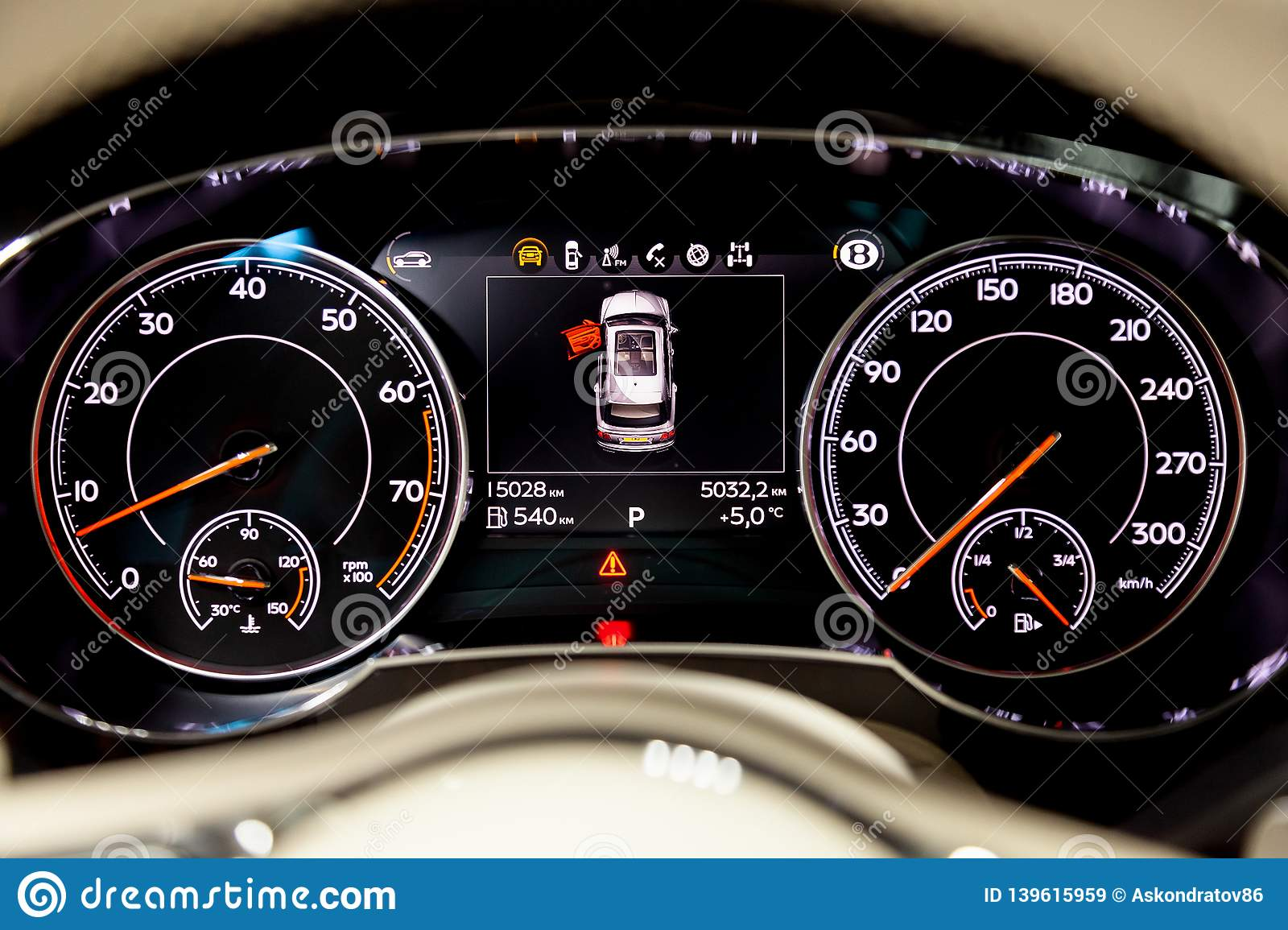 Interior View With Dashboard With Speedometer And Display Of Luxury Very Expensive New Black Bentley Bentayga Car Stands In The Editorial Stock Image Image Of Manufacturer Door 139615959