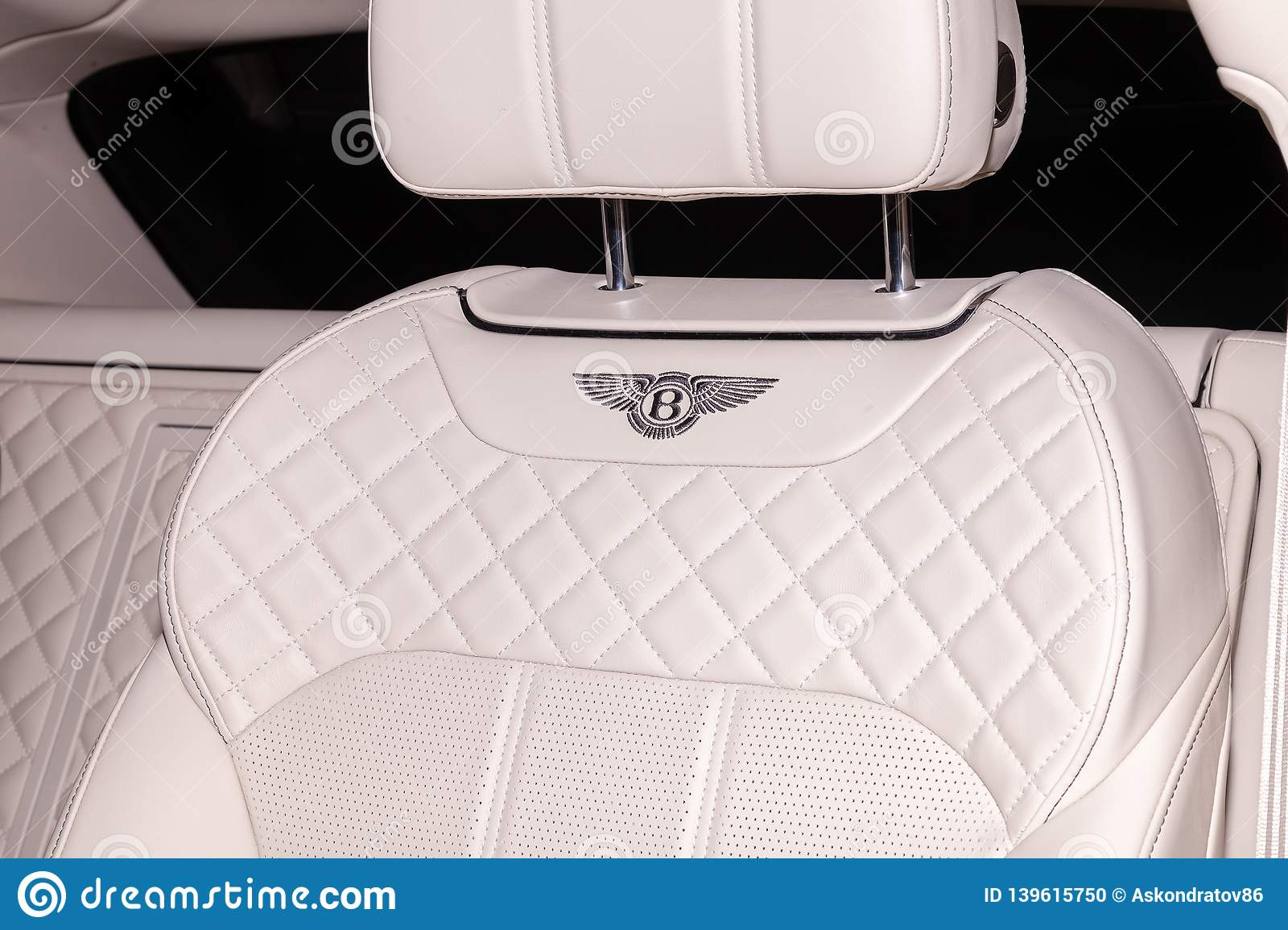 Interior View With Emblem On Rear Seat Of Luxury Very Expensive New Black Bentley Bentayga Car Stands In The Washing Box Waiting Editorial Image Image Of British Driver 139615750