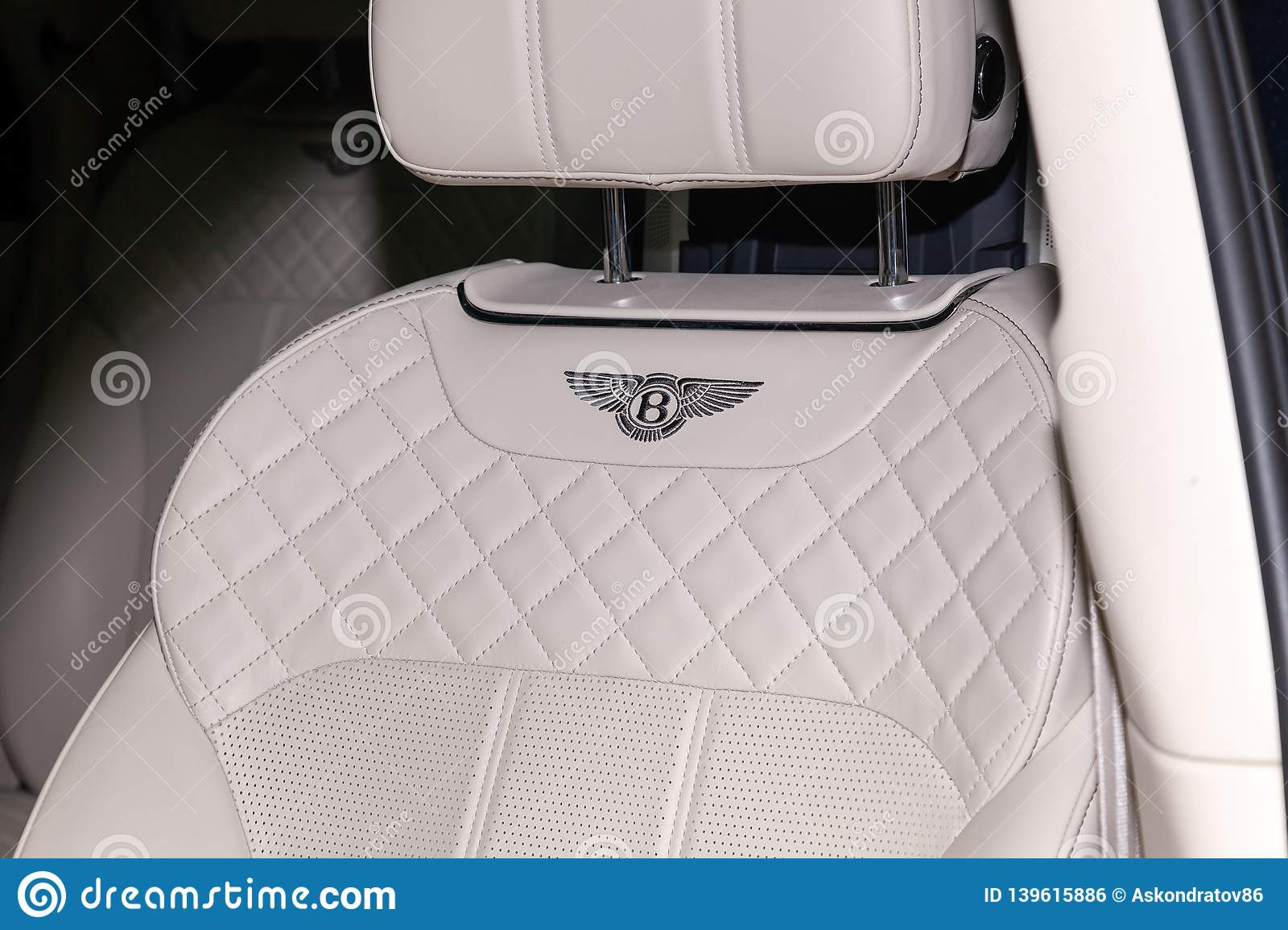 Interior View With Emblem On Steering Wheel Of Luxury Very Expensive New Black Bentley Bentayga Car Stands In The Washing Box Editorial Photo Image Of Light Leather 139615886