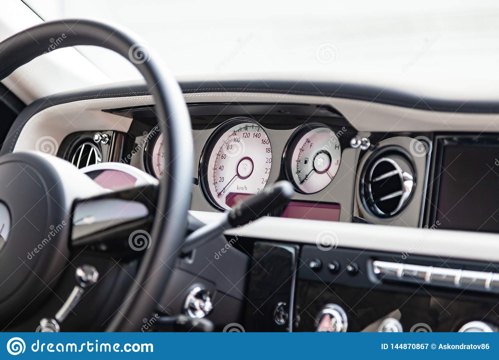 Interior View Of New A Very Expensive Rolls Royce Phantom Car A Long Black Limousine With Dashboard Steering Wheel Seats On Editorial Photography Image Of Leather Automobile 144870867