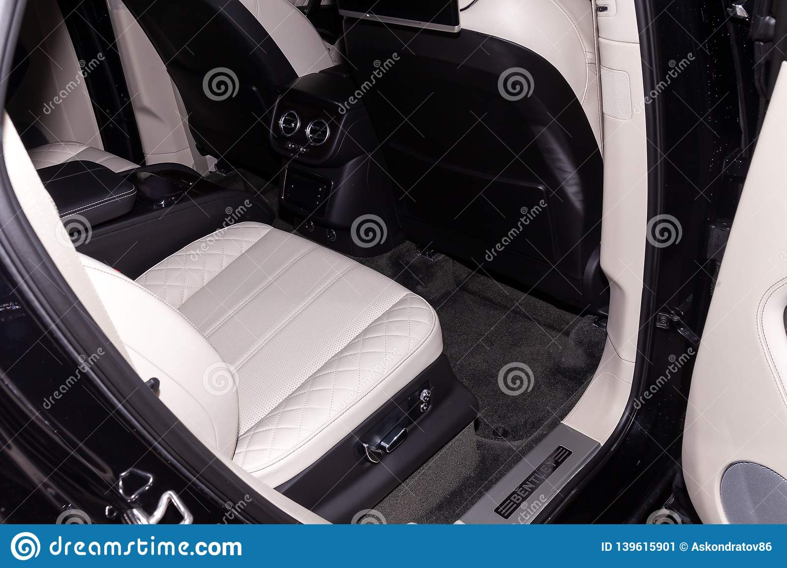 Interior View With Rear Seat Of Luxury Very Expensive New Black Bentley Bentayga Car Stands In The Washing Box Waiting For Repair Editorial Photo Image Of Emblem Control 139615901