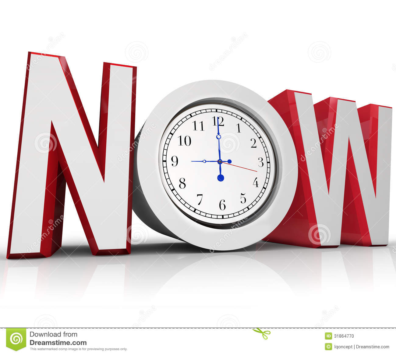 Now Clock Measuring Time For Urgency Or Emergency Stock