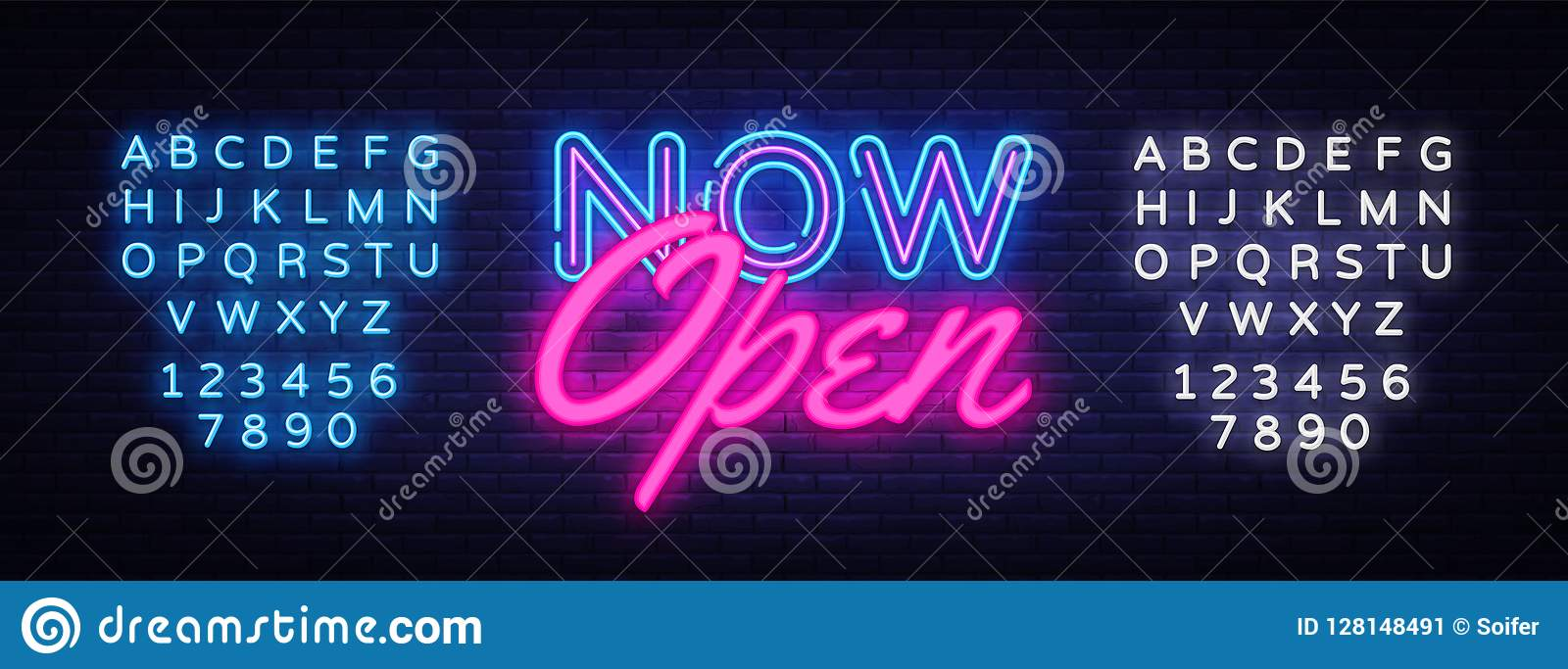 Now Open neon text vector design template. Now Open neon logo, light banner design element colorful modern design trend