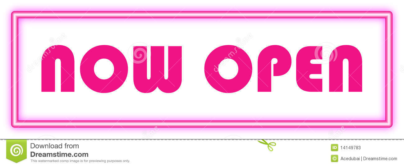 Now open sign in pink neon glow suitable for retail door signs and