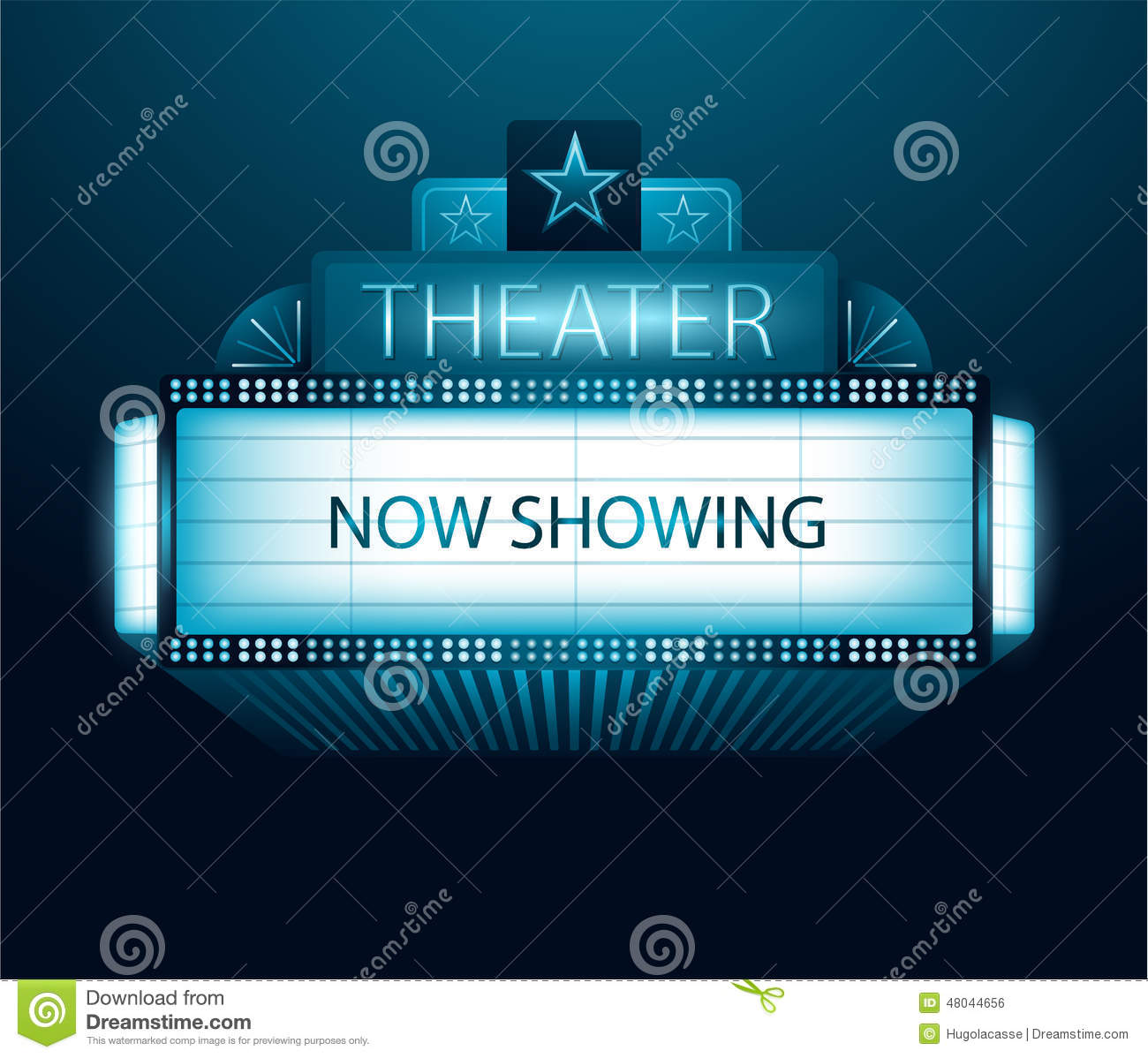 now showing movie theater banner stock vector image
