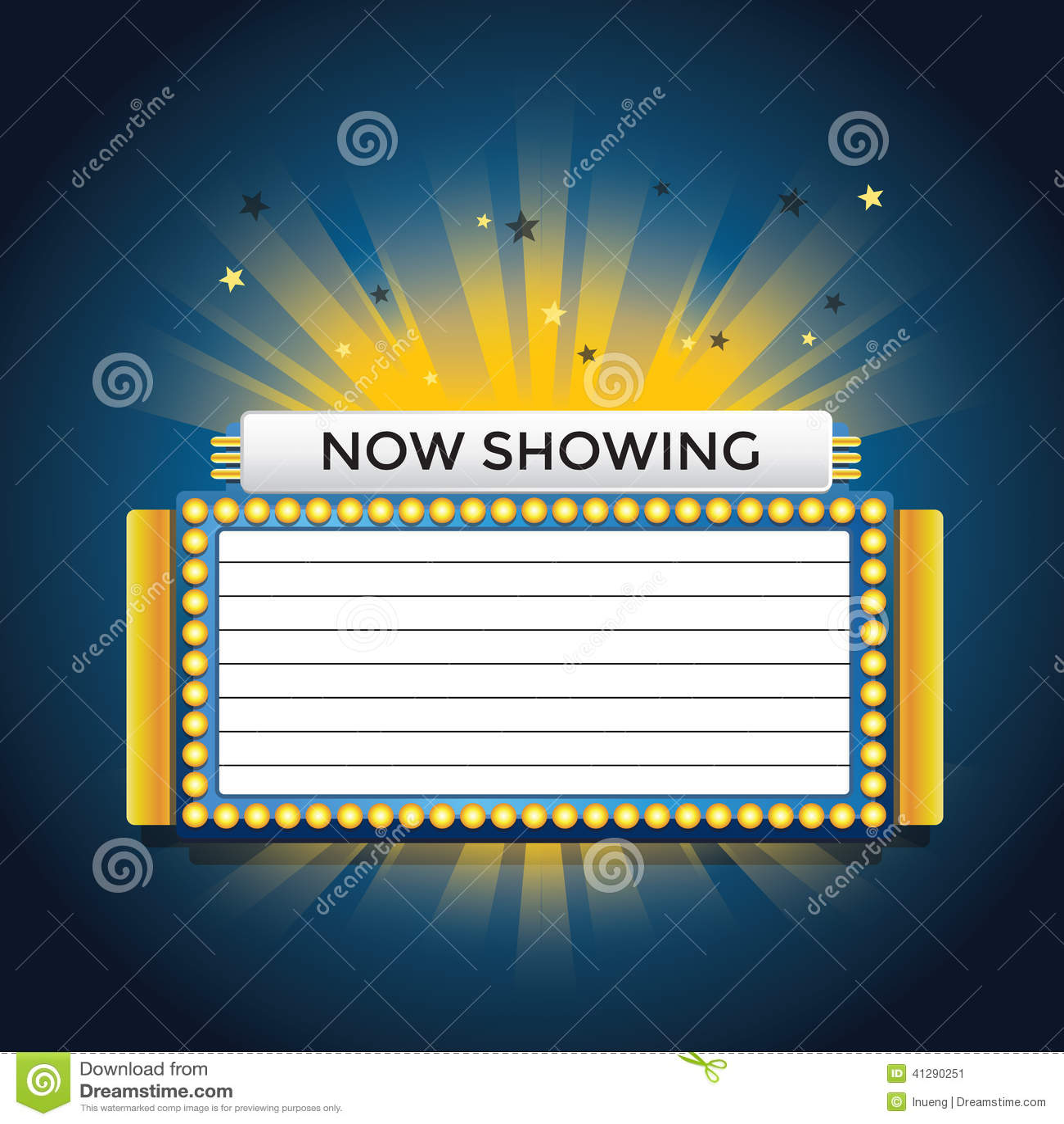 Now Showing Retro Cinema Neon Sign Stock Illustration