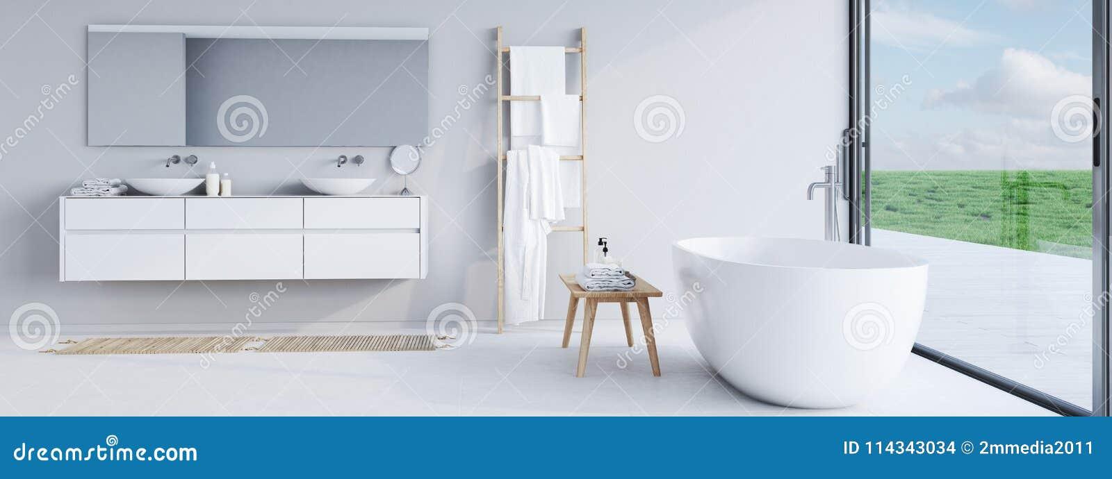 Nowa nowożytna łazienka z ładnym widokiem świadczenia 3 d