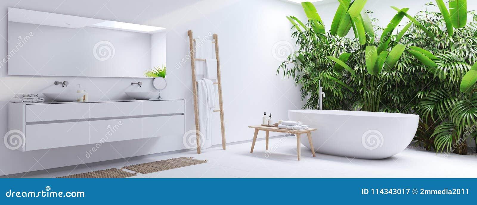 Nowa nowożytna zen łazienka z zwrotnik roślinami świadczenia 3 d