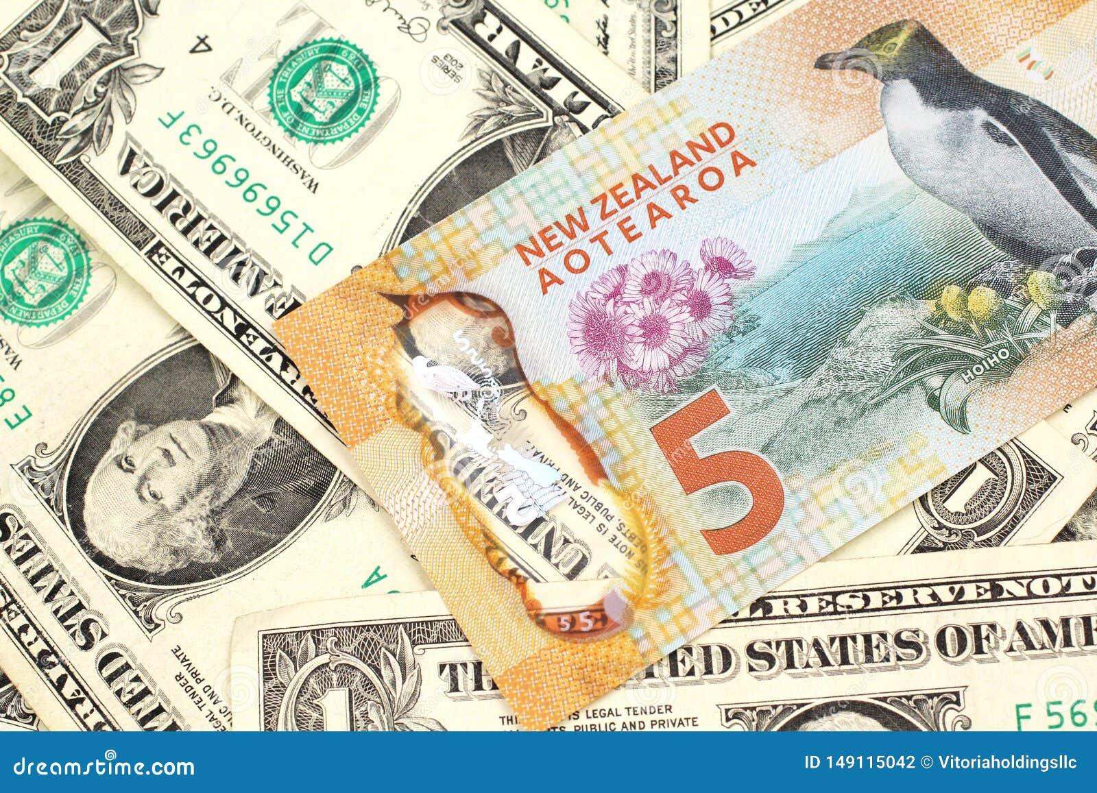 Nowa Zelandia dolara banknot z Stany Zjednoczone jeden dolarowymi rachunkami