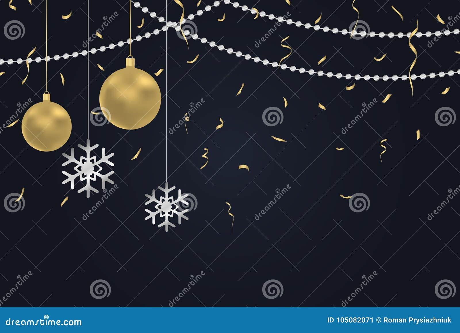 Nowego Roku ciemny tło z złocistymi Bożenarodzeniowymi piłkami, srebnymi płatki śniegu, złoci confetti i argent koraliki,