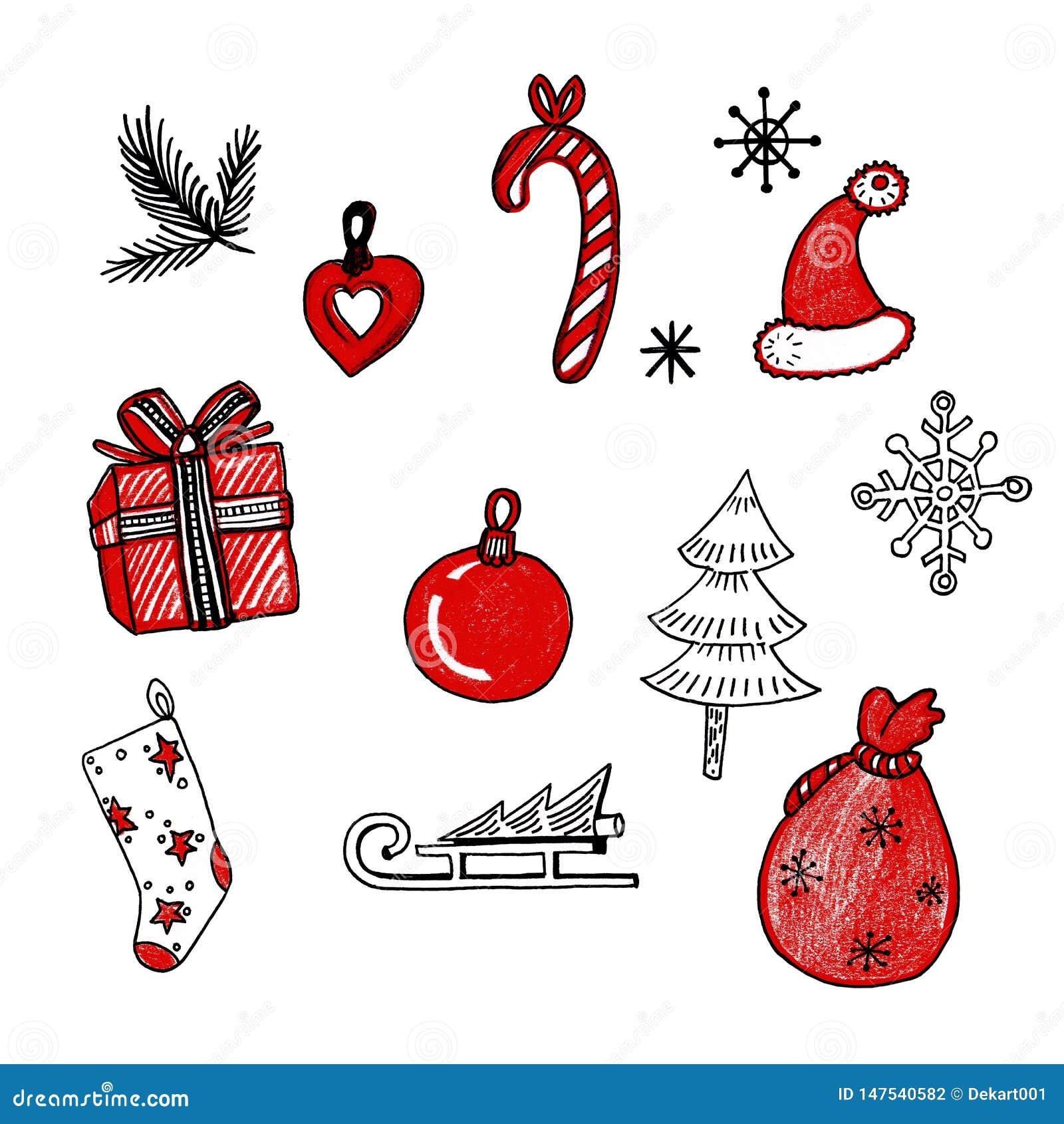 Nowego Roku doodle r?ki rysowa? ikony ustawia? Gałąź, sanie, skarpeta, torba, zabawki, nakrętka, drzewo, płatek śniegu, prezent n