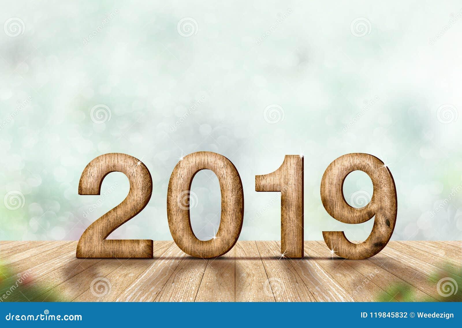 Nowego roku drewna 2019 numerowy 3d rendering na drewnianym deska stole a