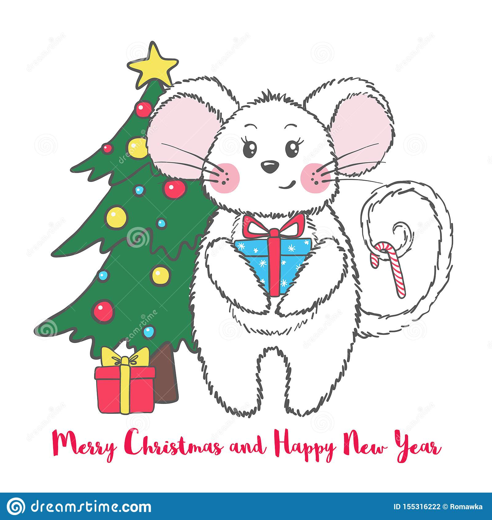 Nowego Roku i bożych narodzeń kartka z pozdrowieniami z śliczną myszą